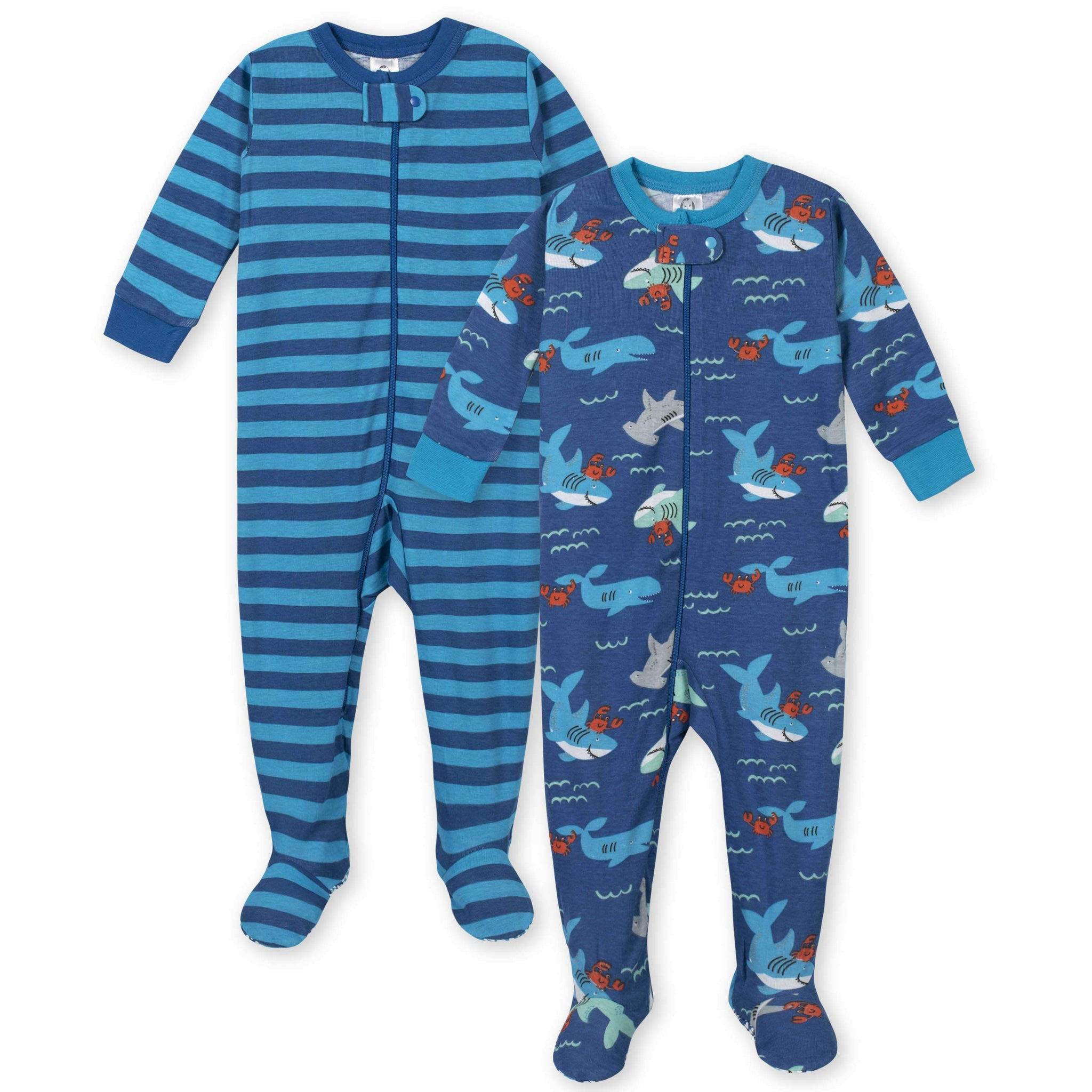 2-Pack Boys Under the Sea Footed Pajamas