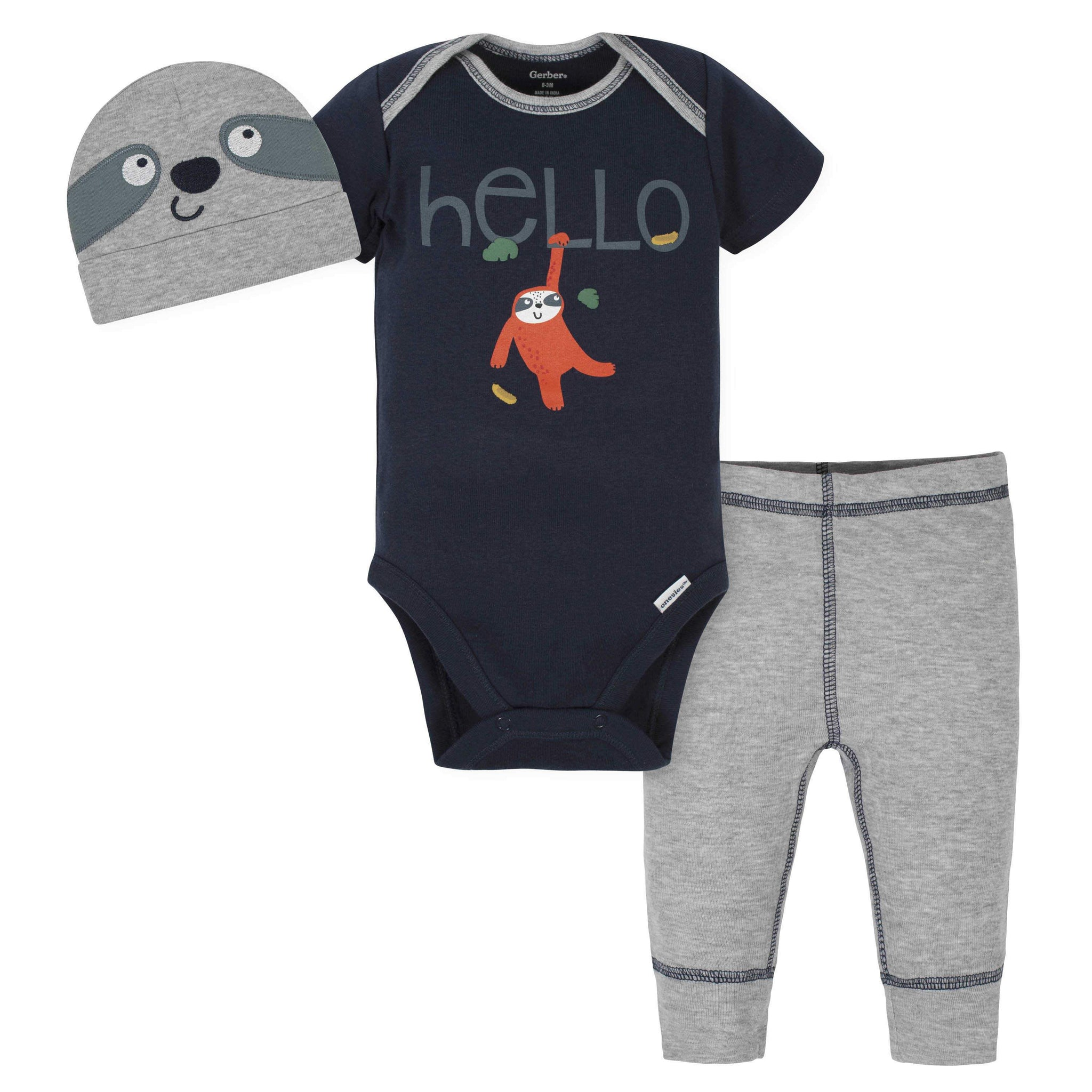 3-Piece Baby Boys Sloth Bodysuit, Pants & Cap Set