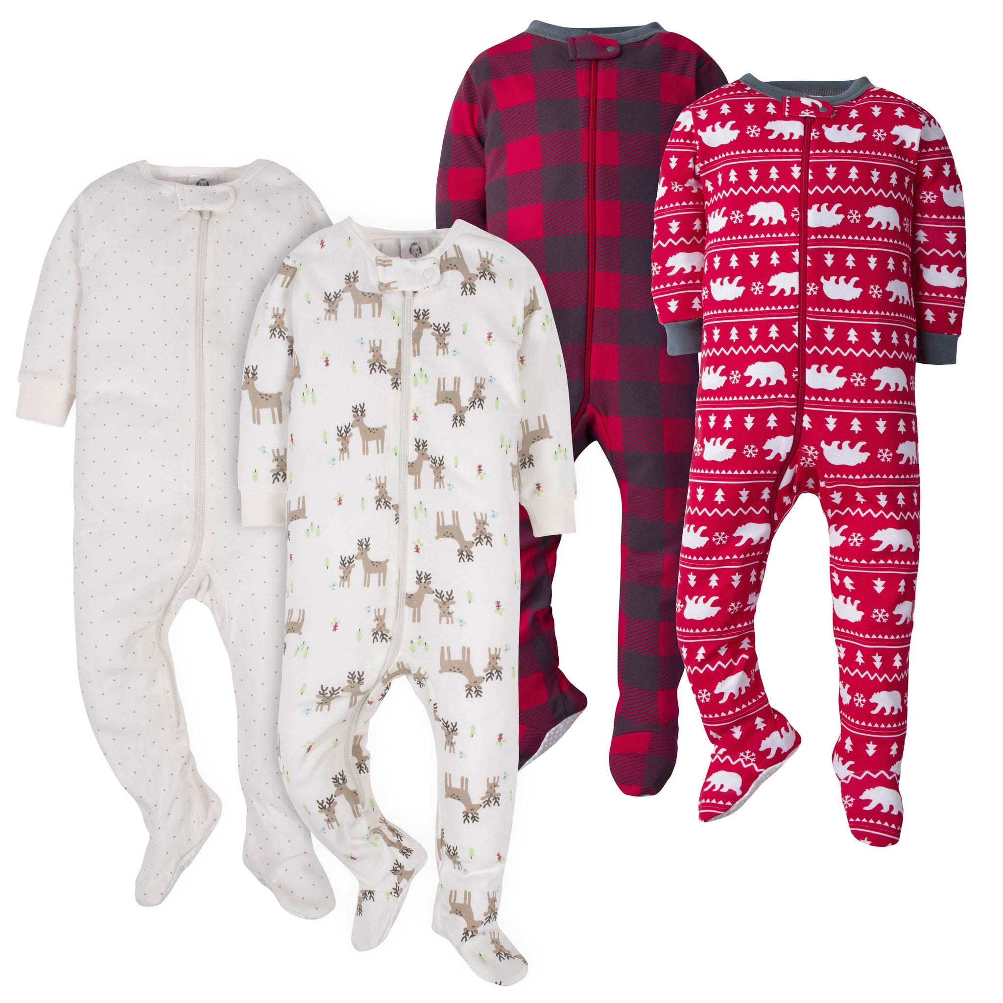 "Gerber Neutral White Bear and ""Hello Dear"" 4-Pack Footed Union Suits"