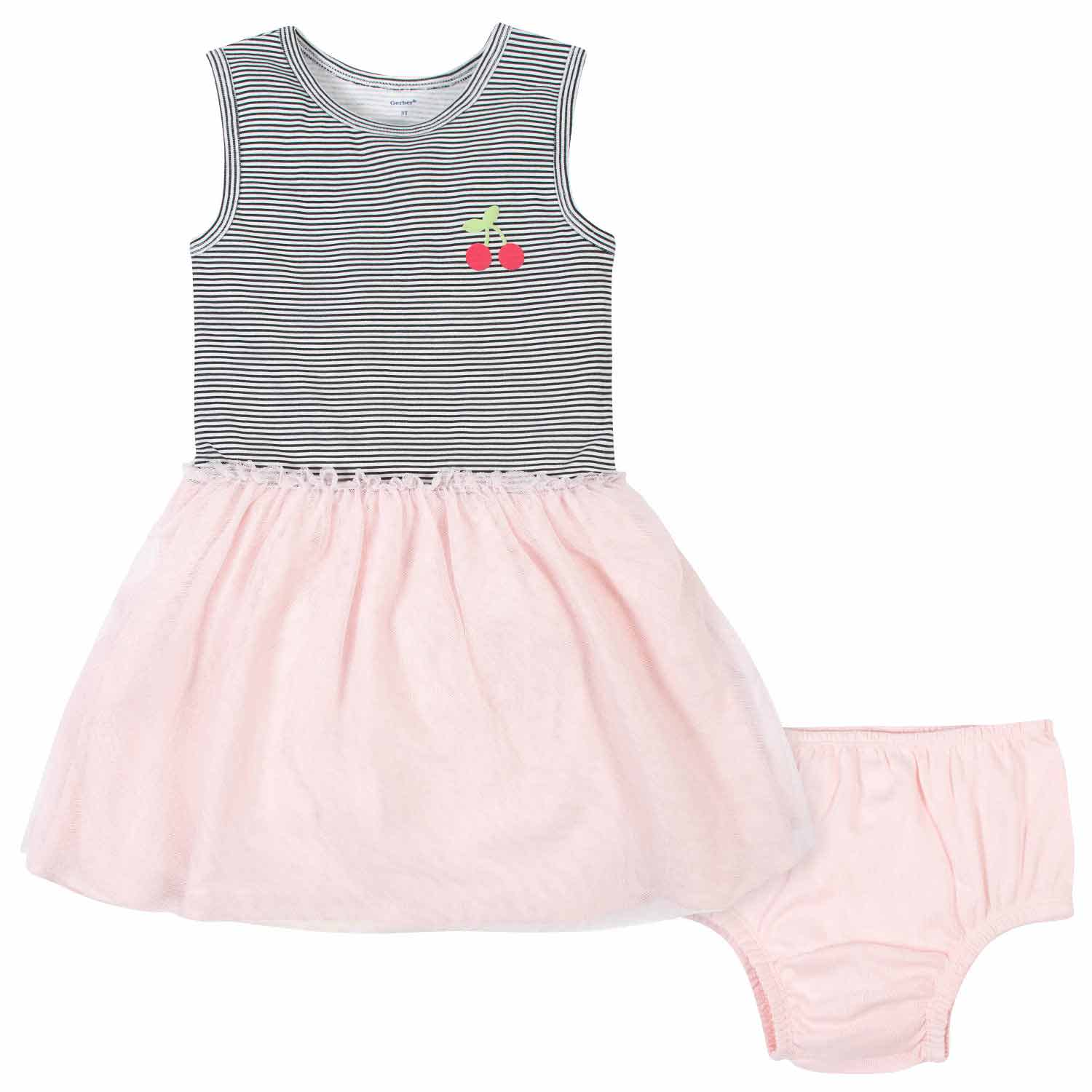 2-Piece Toddler Girls Cherries Tulle Dress and Diaper Cover
