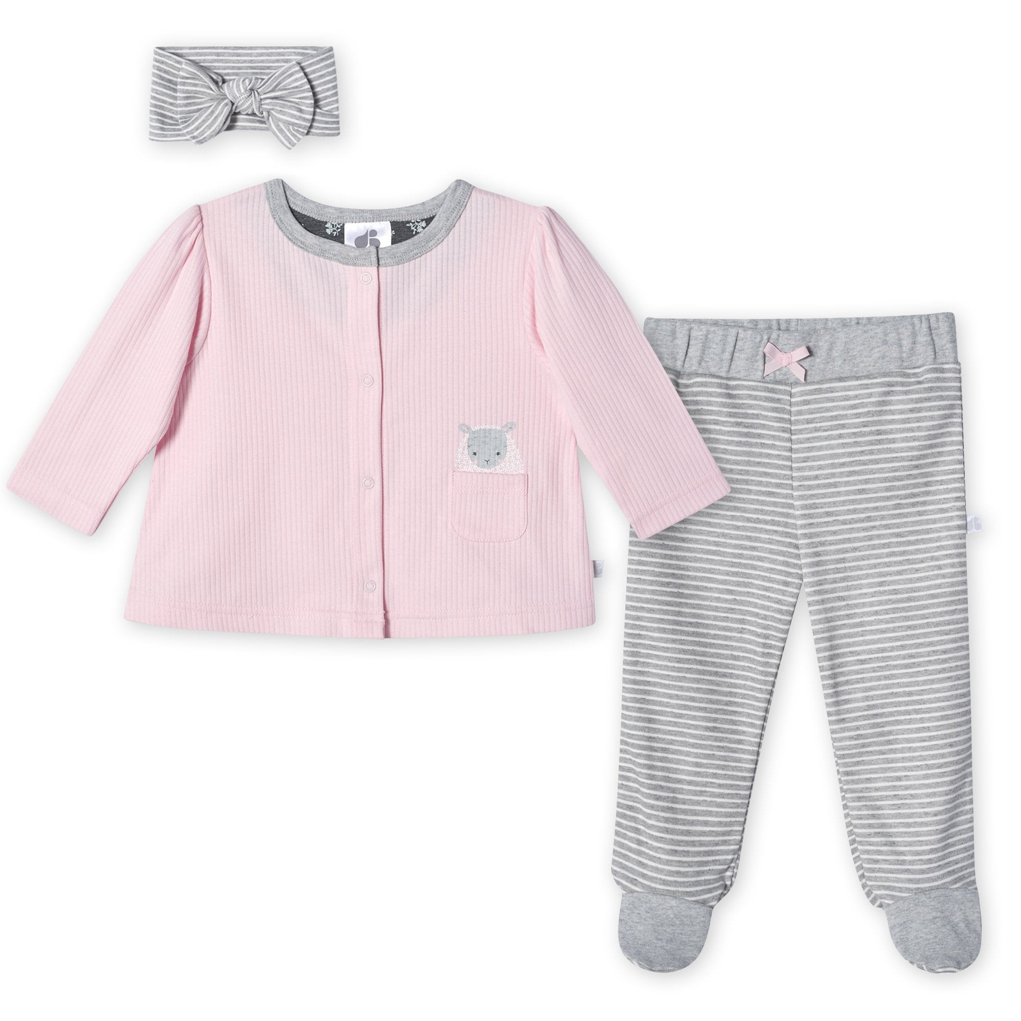 Just Born® Organic Baby Girls 3-Piece Lil' Lamb Shirt, Pants & Headband Set