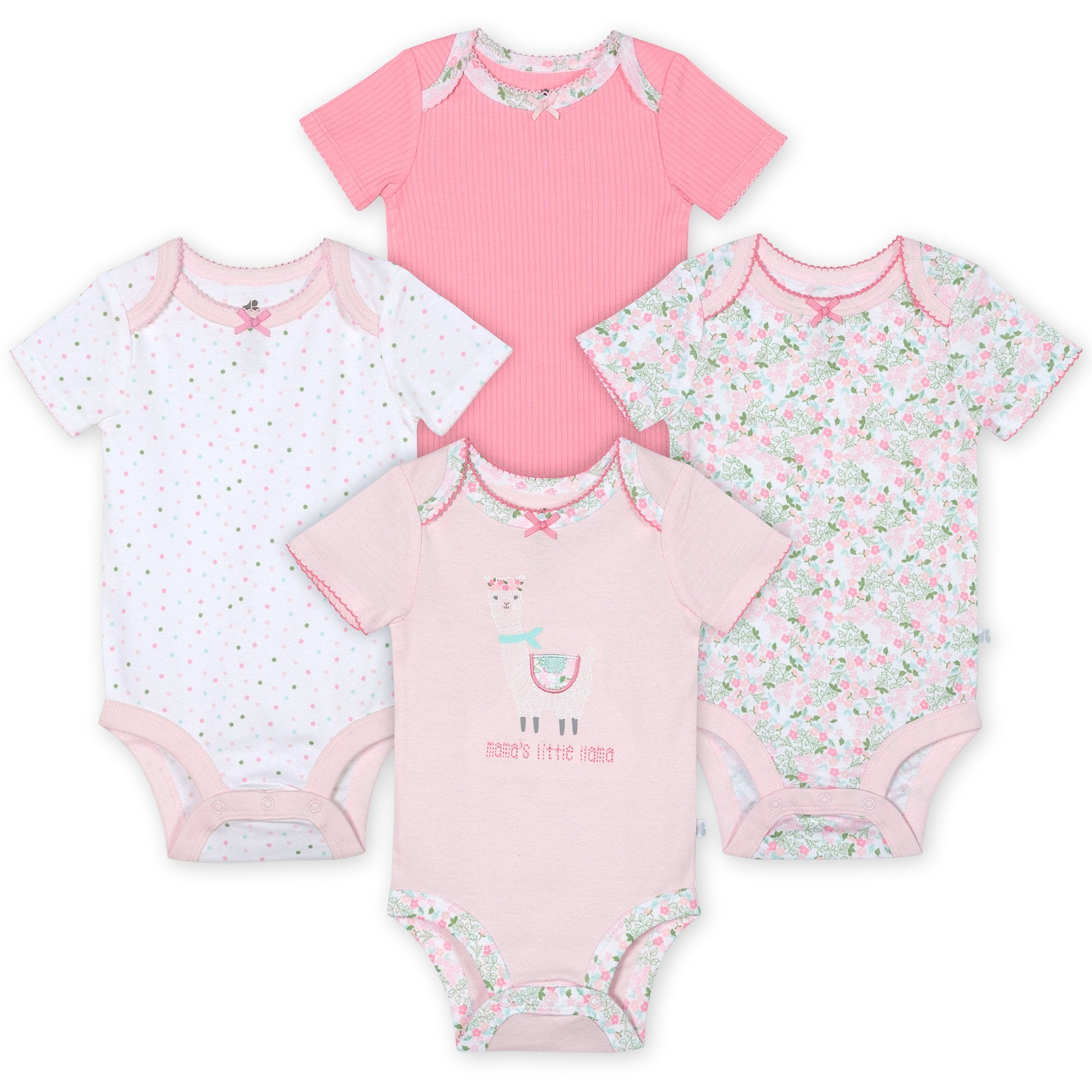 Just Born® Organic Baby Girls 4-Pack Short Sleeve Lil' Llama Bodysuits