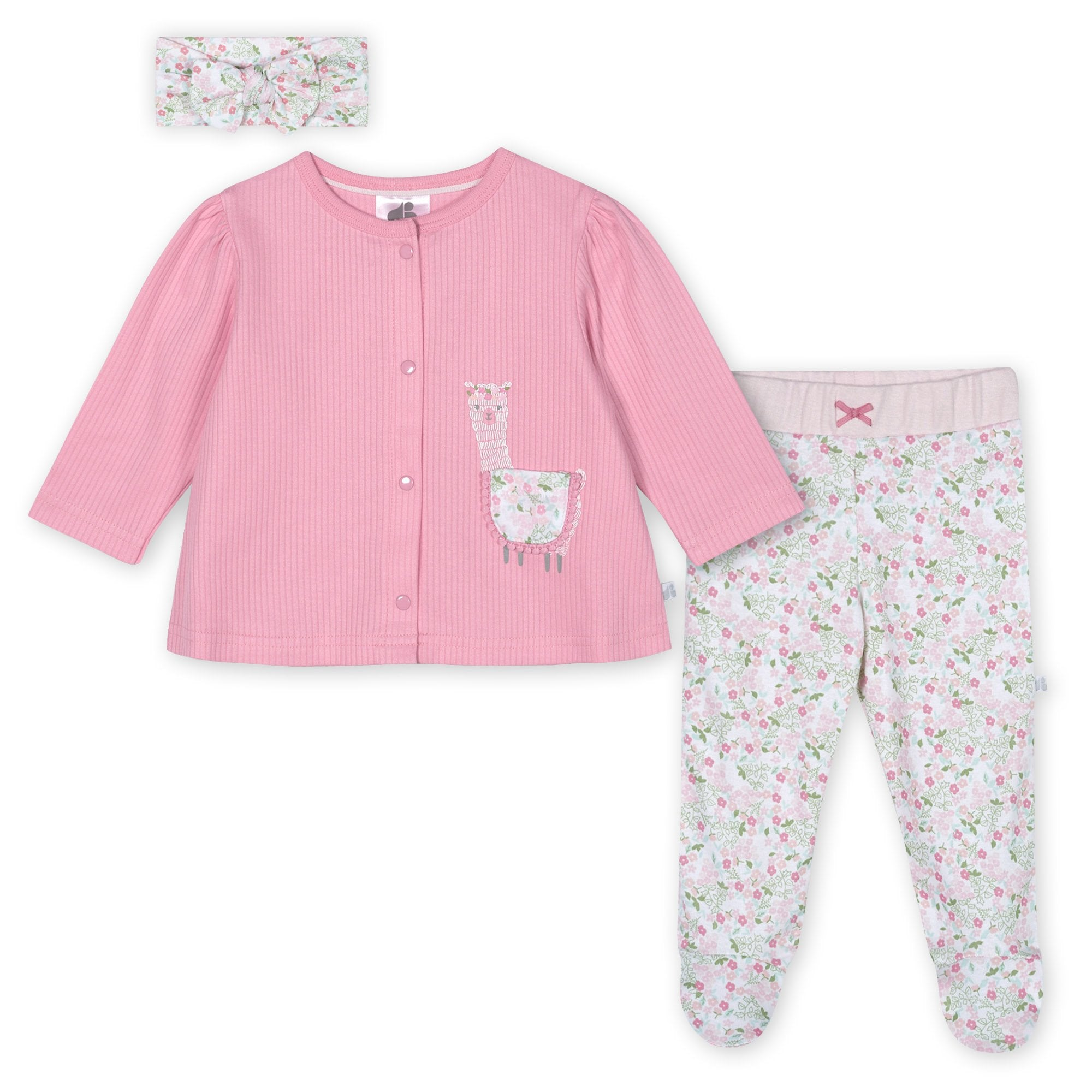 Just Born® Organic Baby Girls 3-Piece Lil' Llama Shirt, Pants & Headband Set
