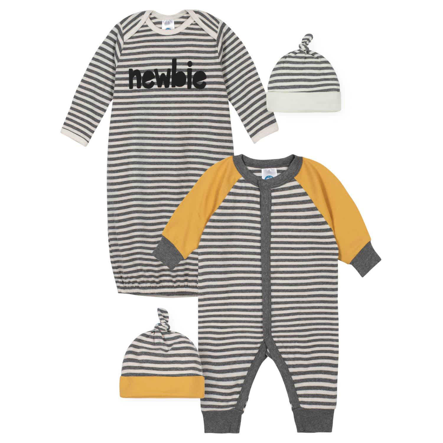 Gerber® 4-Piece Baby Boys Striped Coverall, Gown, and Caps Gift Set