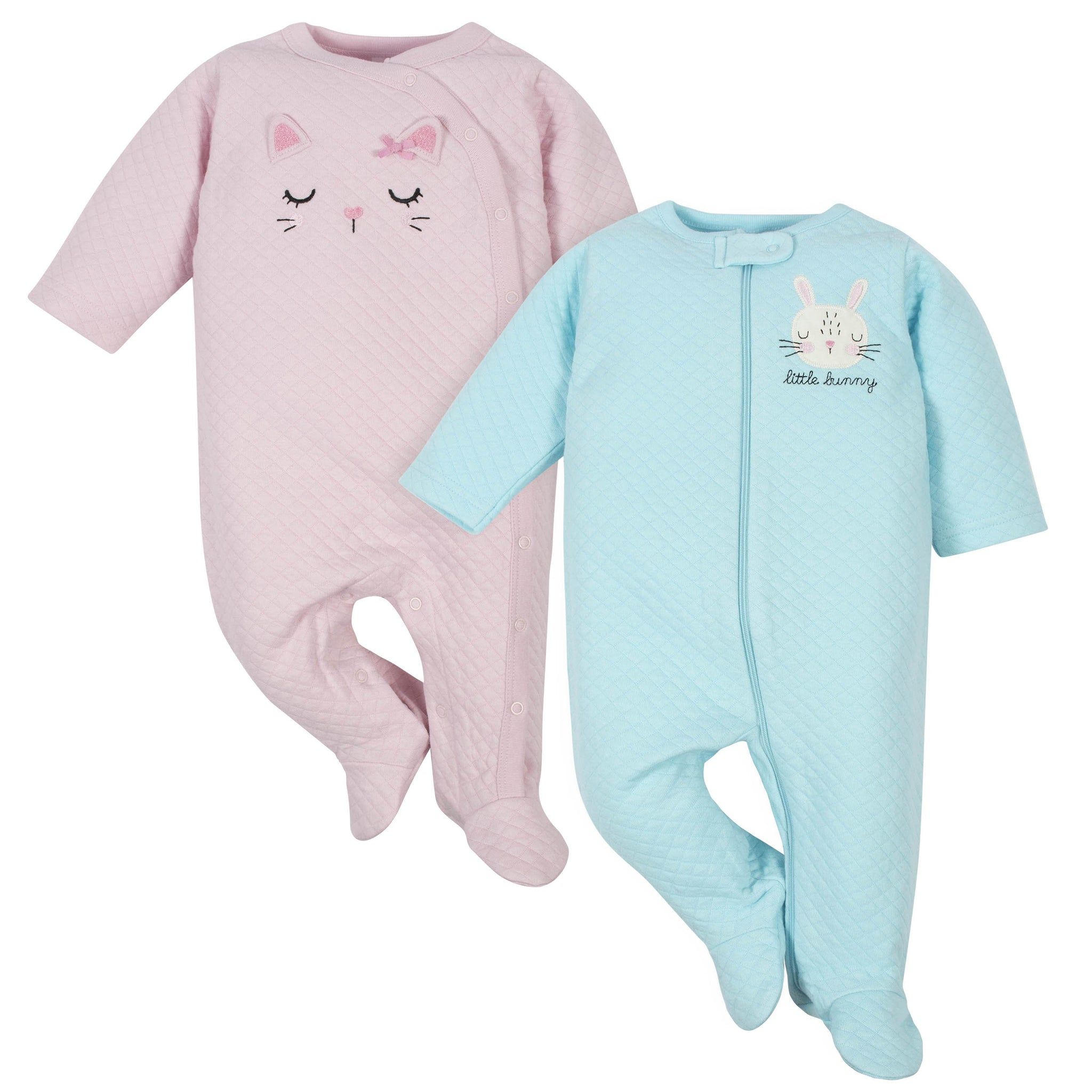 2-Pack Baby Girls' Cat and Bunny Quilted Sleep 'n Plays