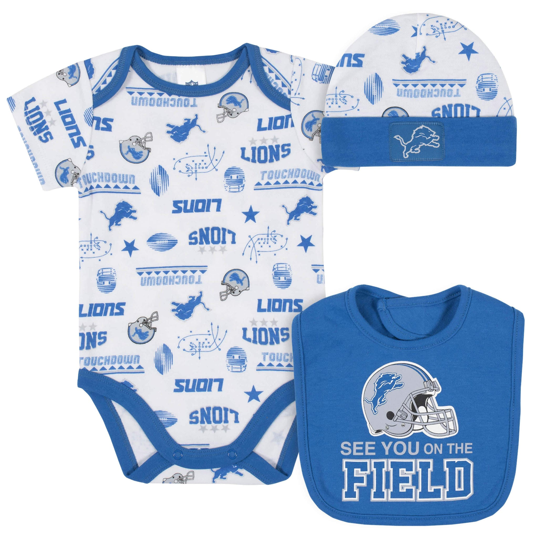 Detroit Lions 3-Piece Baby Boys Bodysuit, Bib, and Cap Set-Gerber Childrenswear