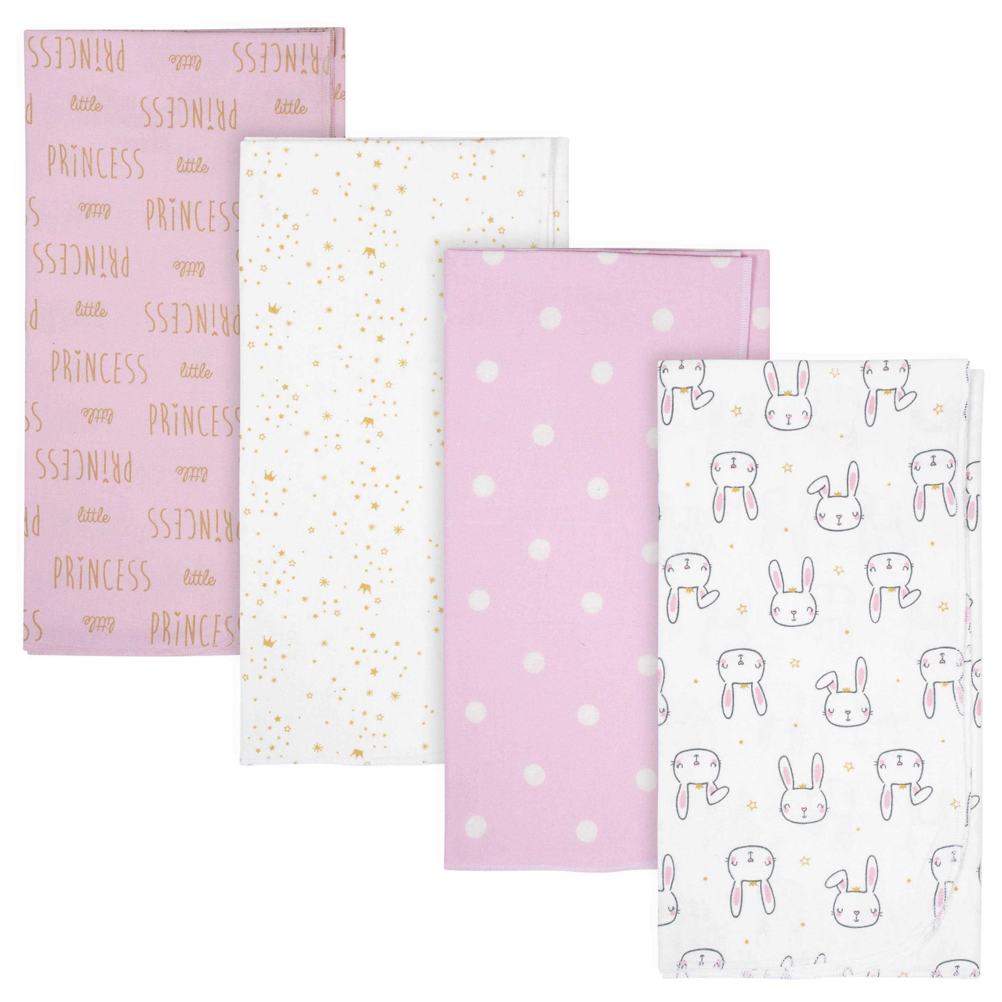 Gerber® 4-Pack Baby Girls Princess Flannel Blankets