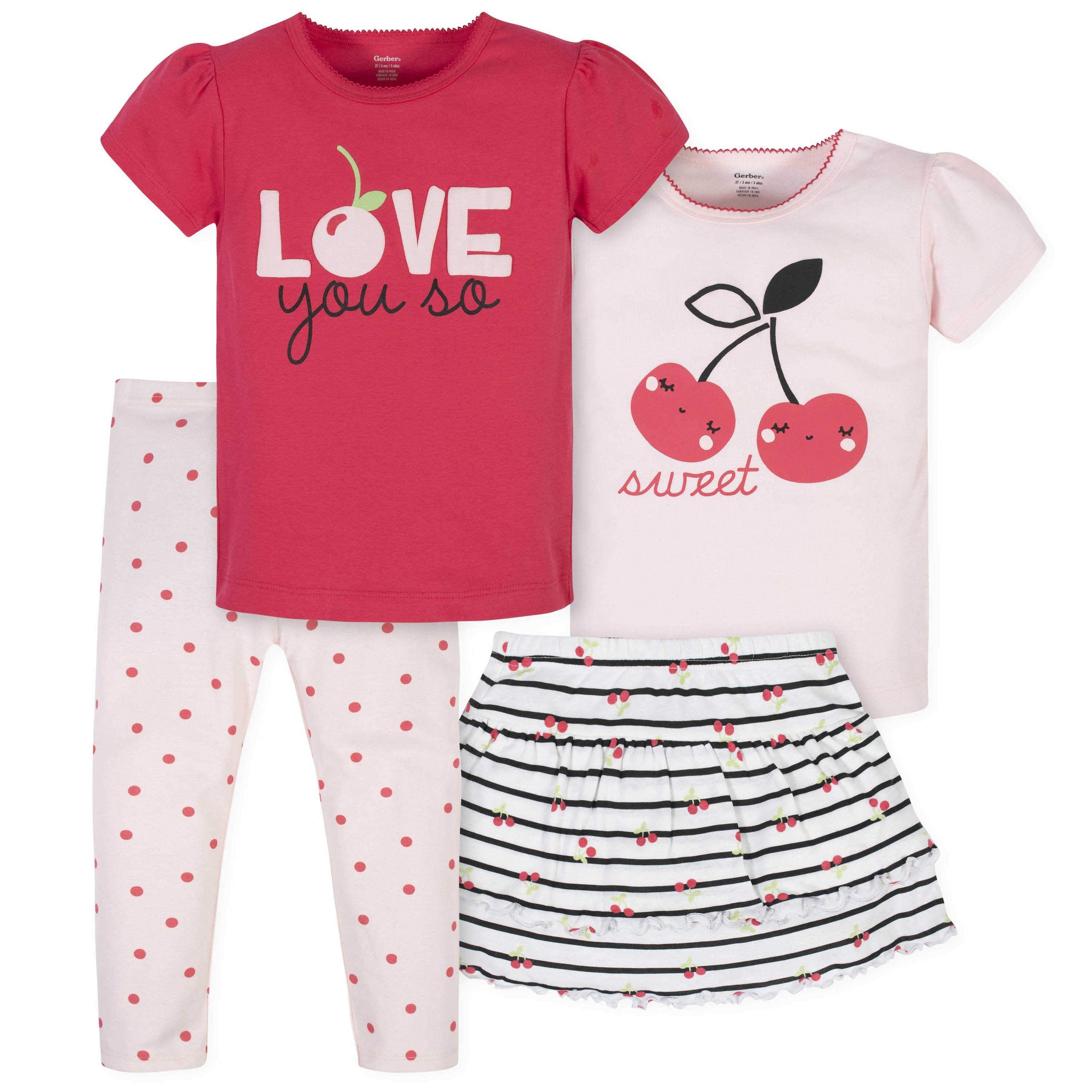 4-Piece Toddler Girls Cherries Skirted Panty, Shirts, and Slim Pant Set