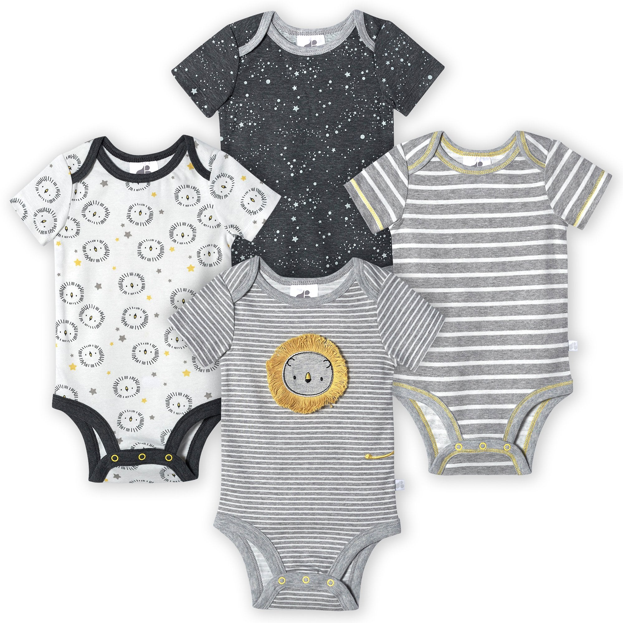 Just Born® Organic Baby Boys 4-Pack Short Sleeve Lil' Lion Bodysuits