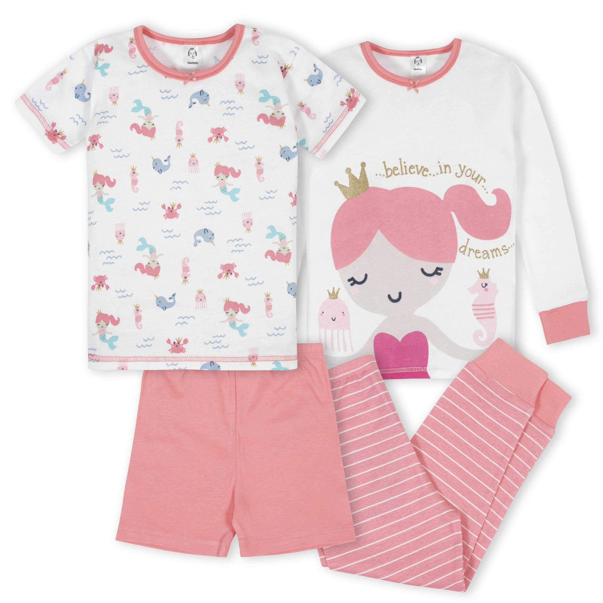 4-Piece Girls Mermaid Pajama Set