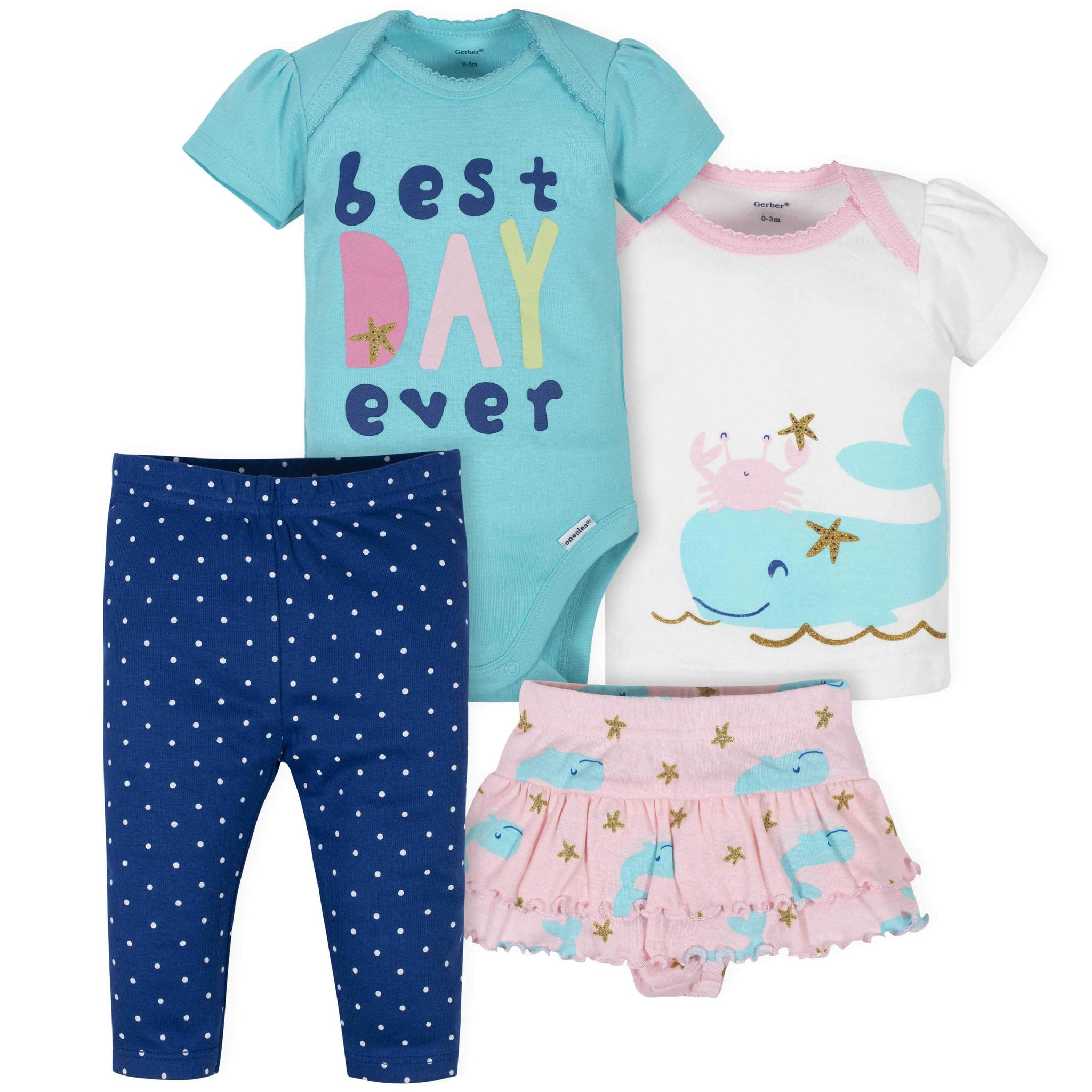 Gerber® 4-Piece Baby Girls Nautical Onesies Bodysuit, Skirted Panty, Shirt, and Slim Pant Set