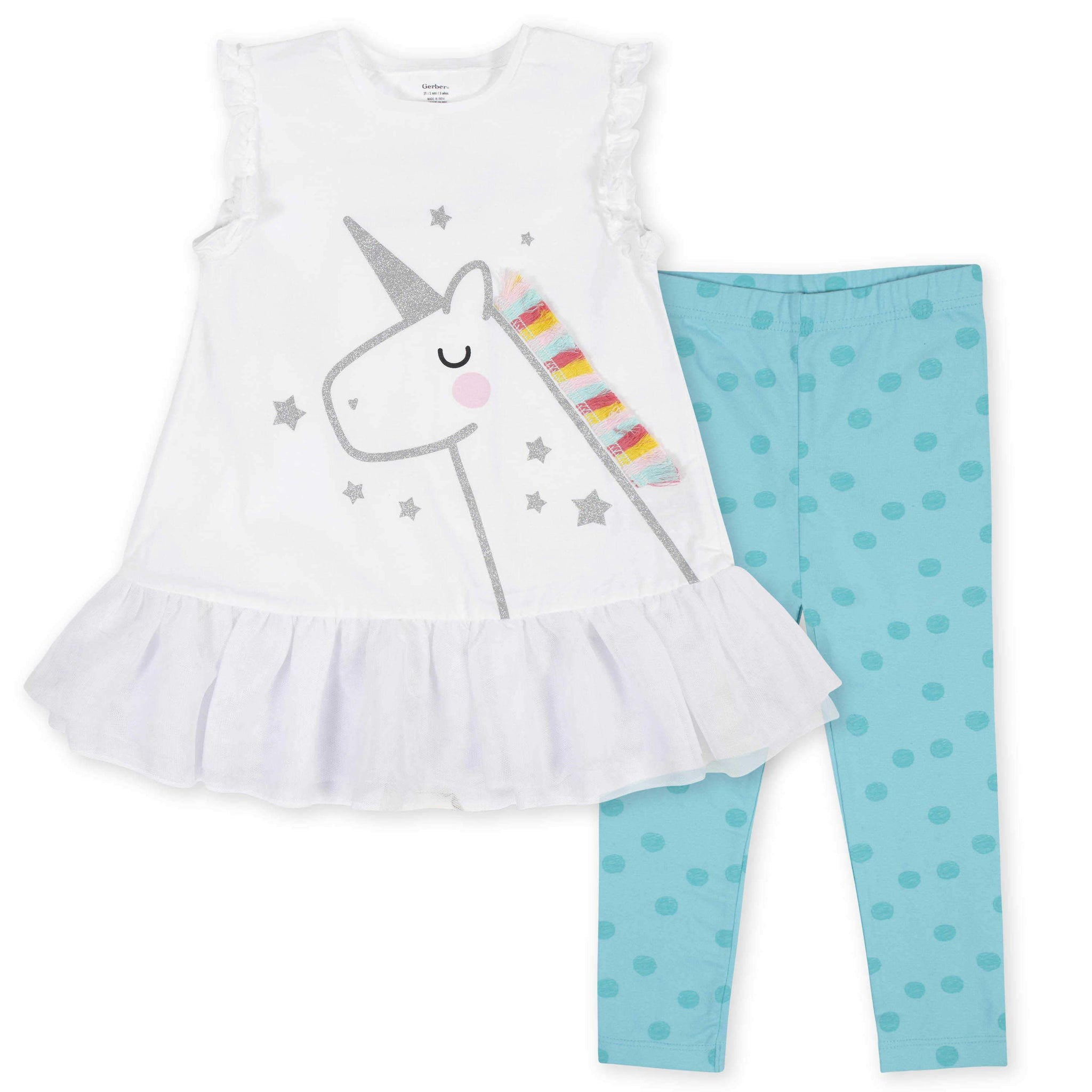 2-Piece Toddler Girls Unicorn Ruffled Tunic and Legging Set