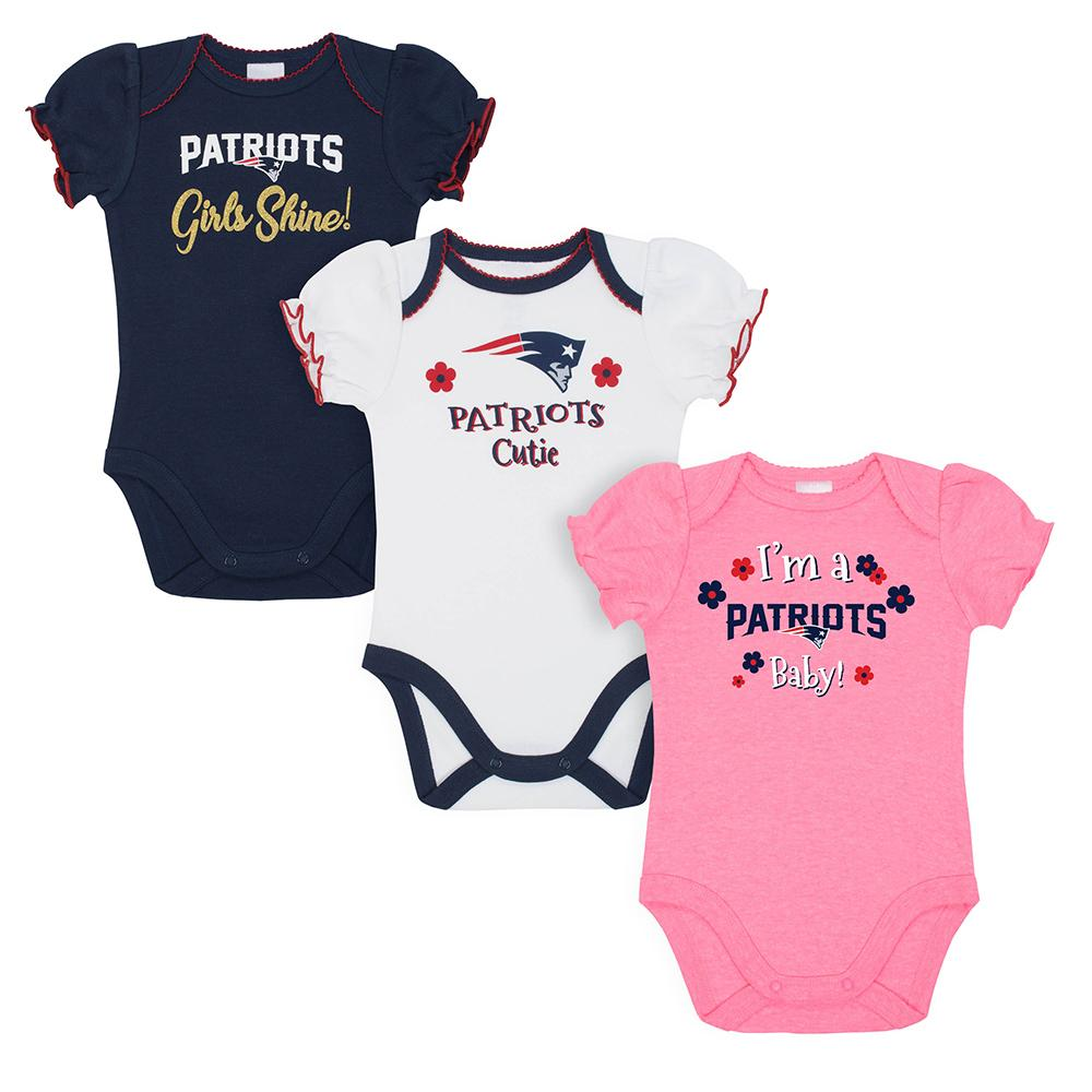 New England Patriots Baby Girl Short Sleeve Bodysuit, 3-pack-Gerber Childrenswear