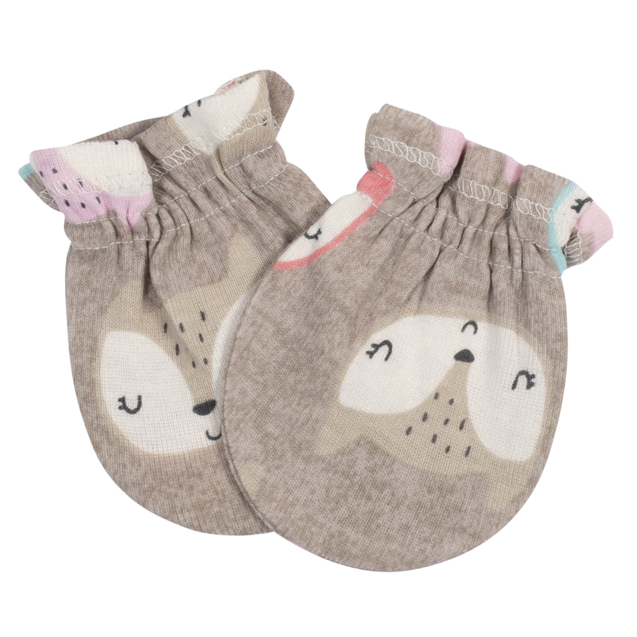 Gerber® 3-Pack Baby Girls Fox No Scratch Mittens