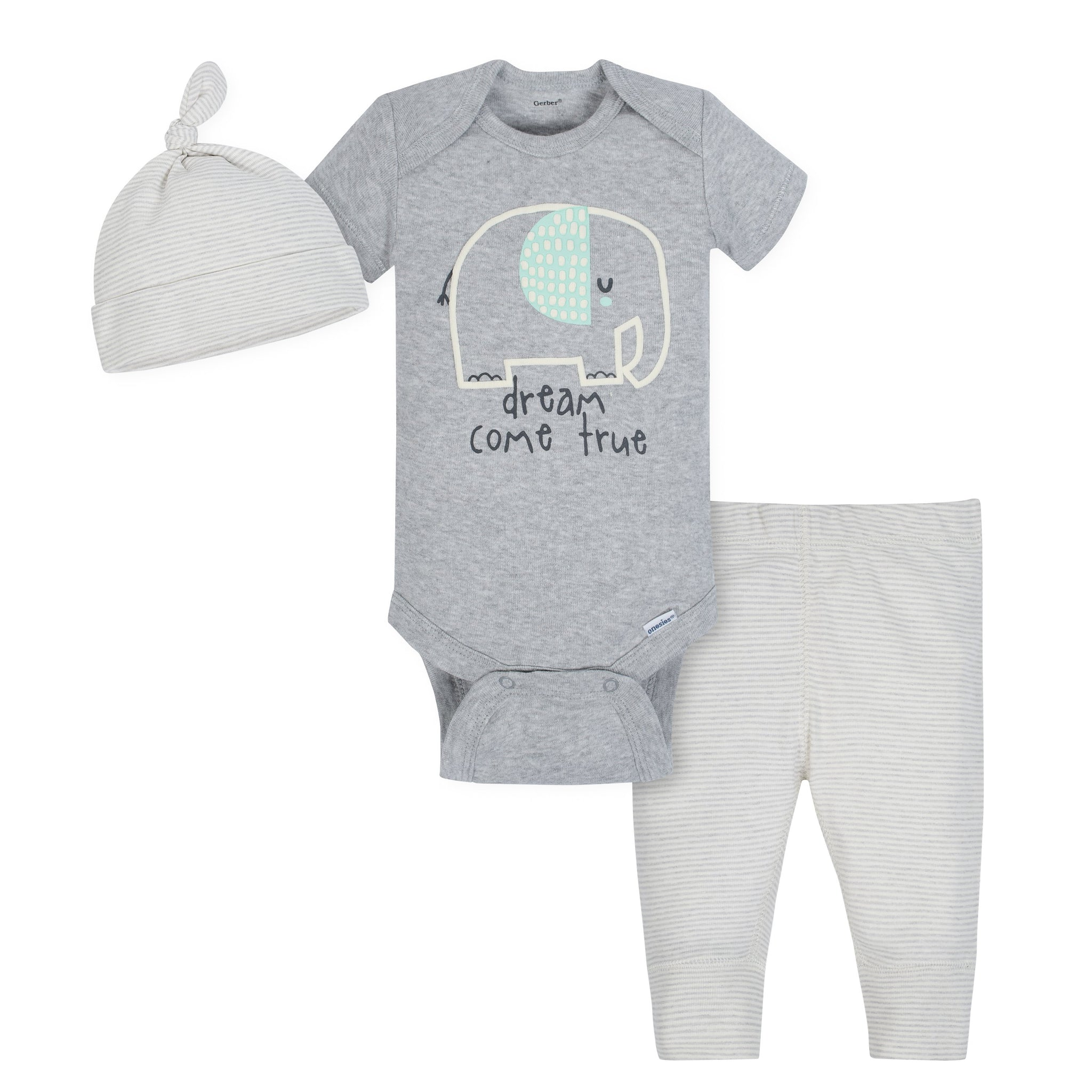 Gerber 3-Piece Organic Baby Unisex Take Me Home Set - Elephant