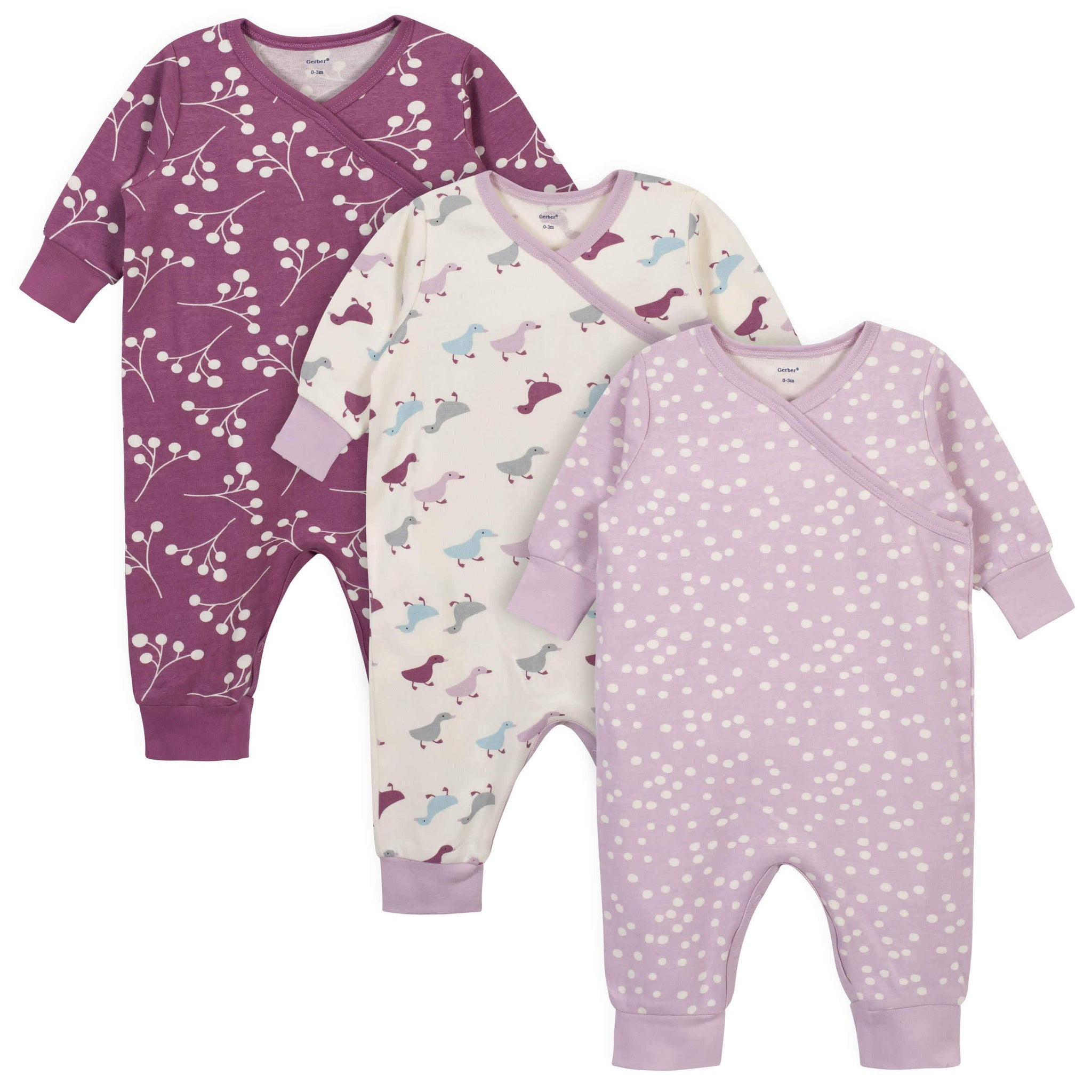 3-Piece Baby Girls Grow by Gerber® Ducklings Organic Coverall Set-Gerber Childrenswear
