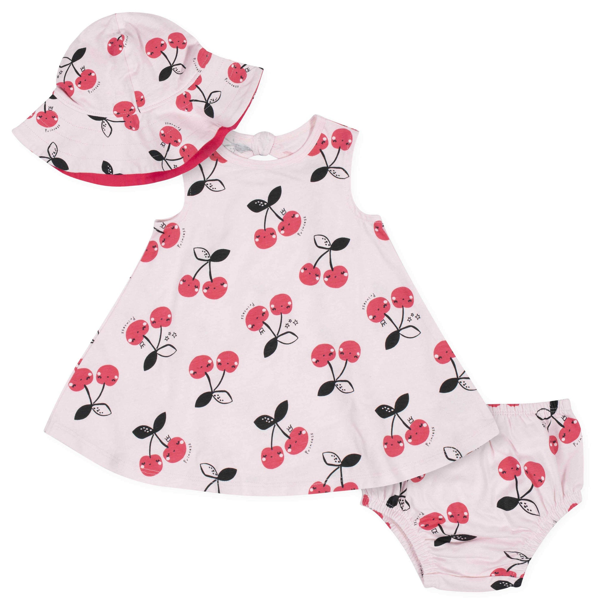 3-Piece Baby Girls' Cherry Dress, Diaper Cover, and Hat Set
