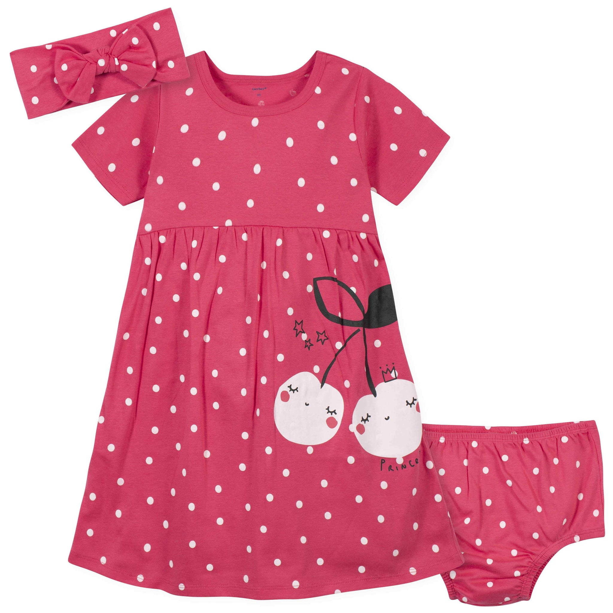 3-Piece Toddler Girls Cherry Dots Dress, Diaper Cover, and Headband Set