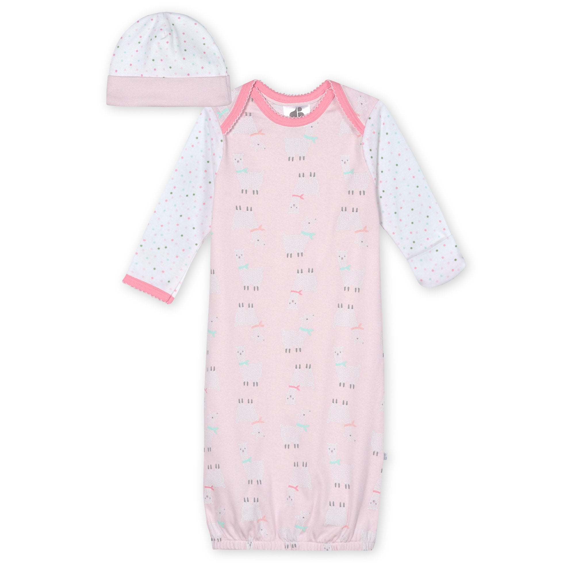Just Born® Organic Baby Girls 2-Piece Lil' Llama Gown and Hat Set-Gerber Childrenswear