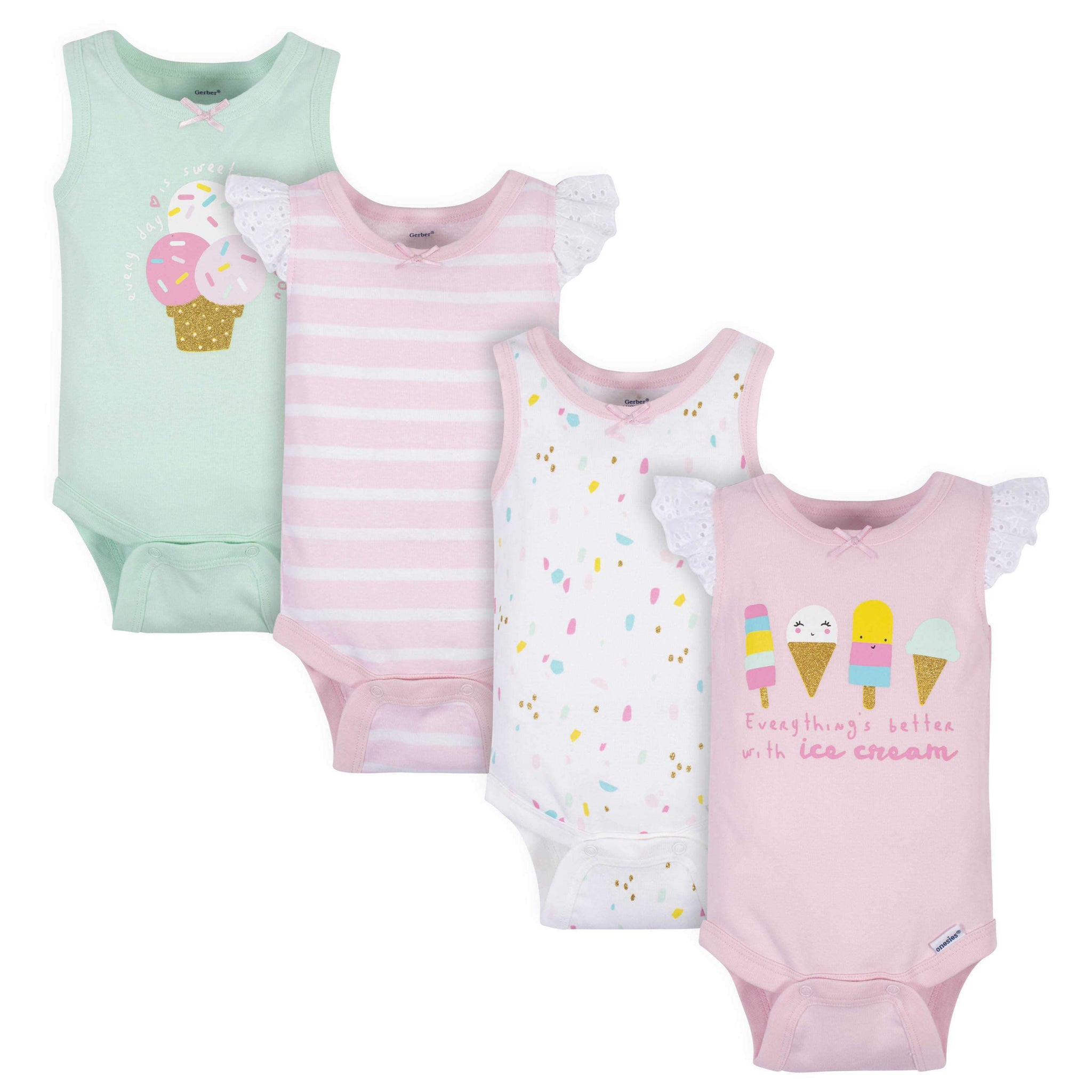 4-Pack Baby Girls Ice Cream Tank Onesies Bodysuits