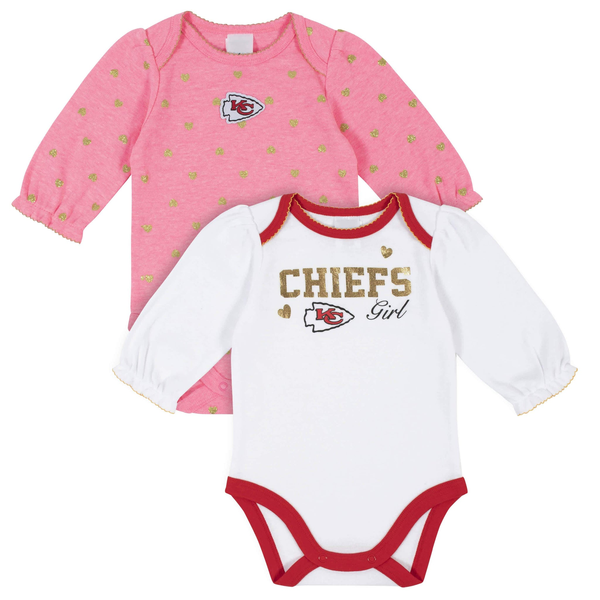 Kansas City Chiefs Baby Girls Long Sleeve Bodysuits