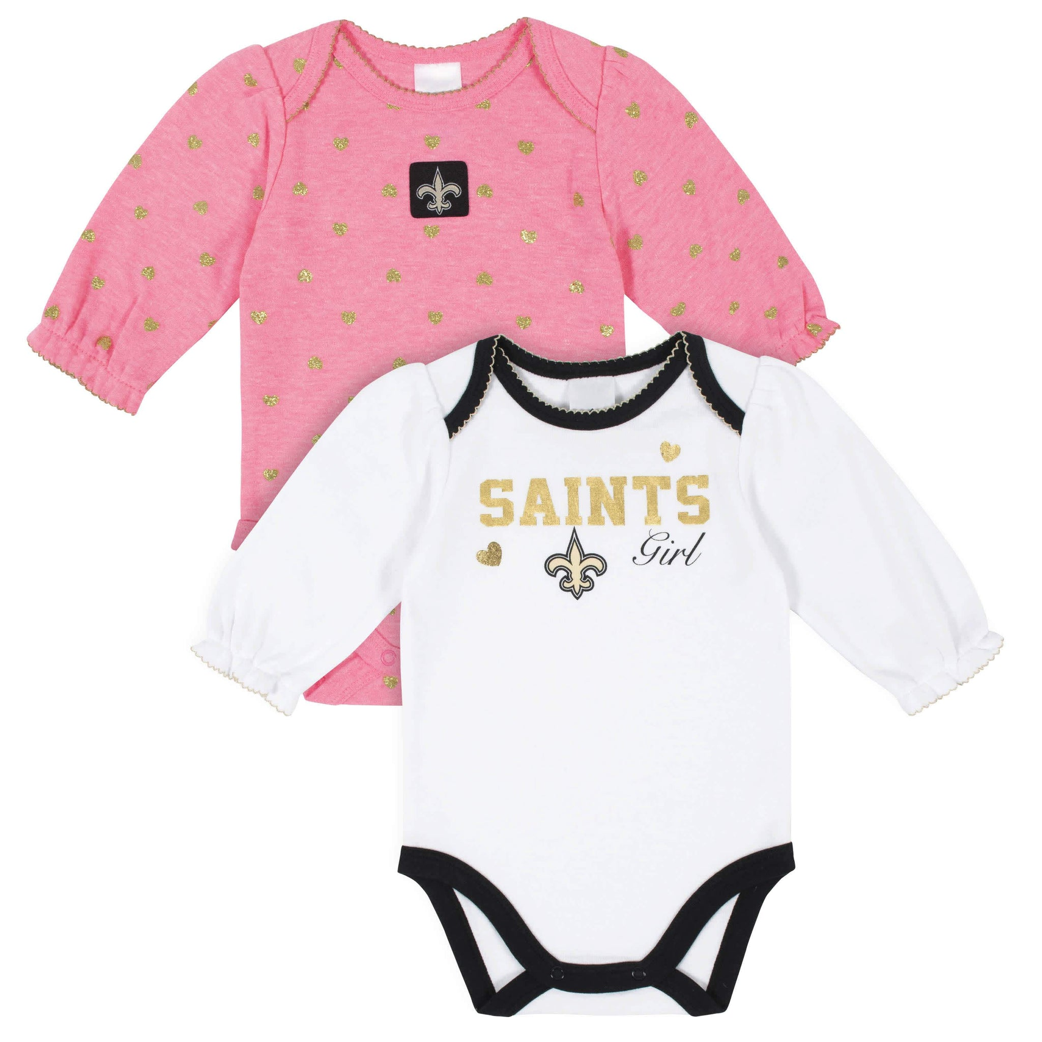 New Orleans Saints Baby Girls Long Sleeve Bodysuits-Gerber Childrenswear