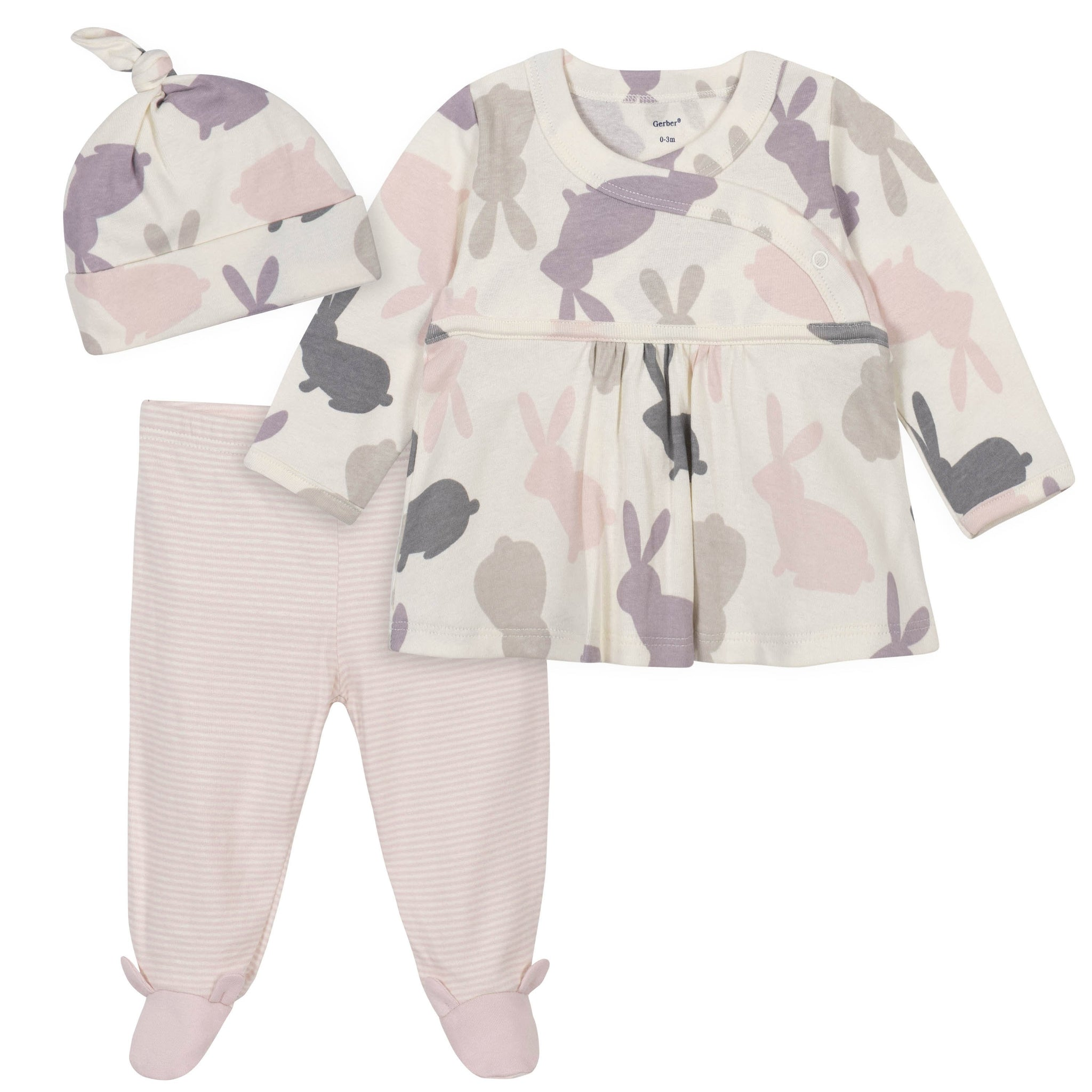 Gerber® 3-Piece Baby Girls Shirt, Footed Pant, and Cap Set - Bunny