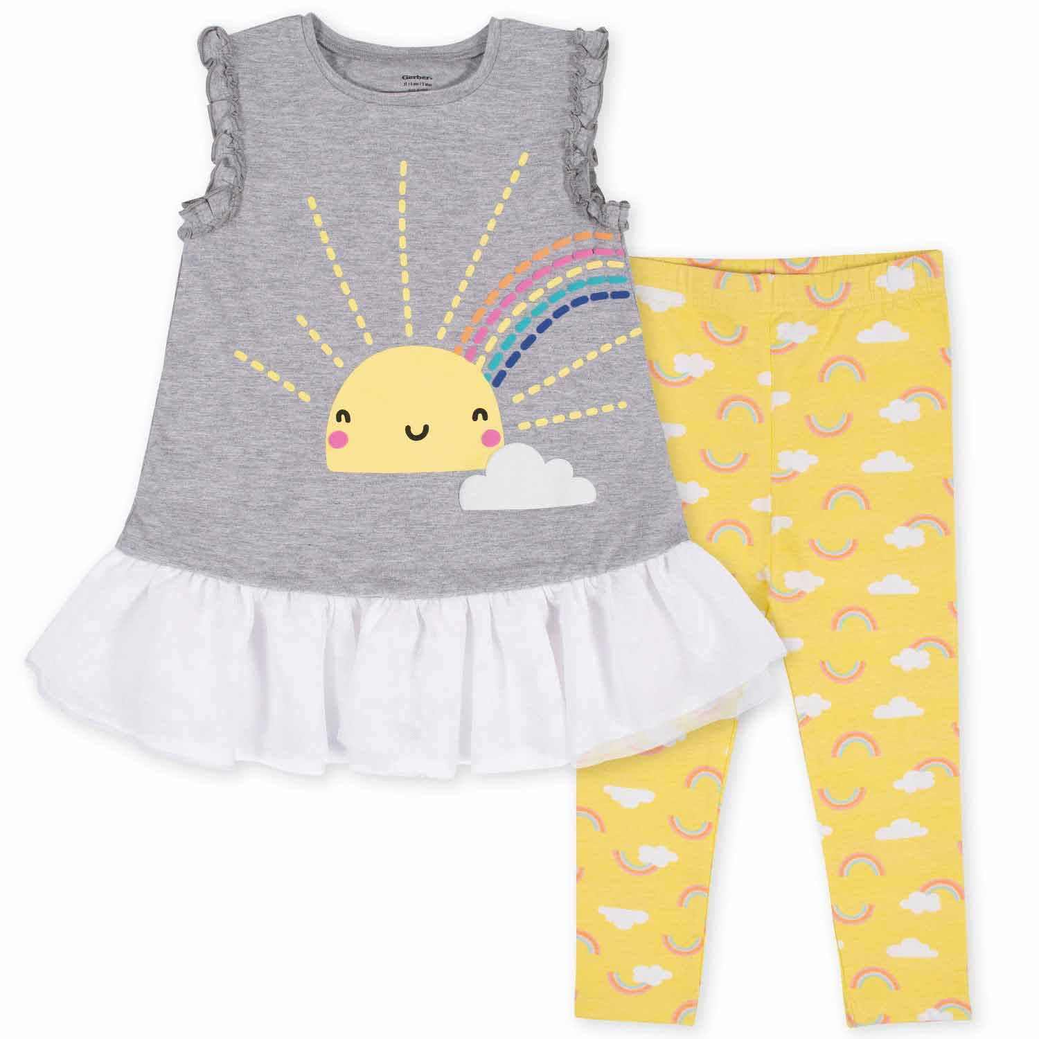 2-Piece Toddler Girls' Sunshine Ruffled Tunic and Legging Set