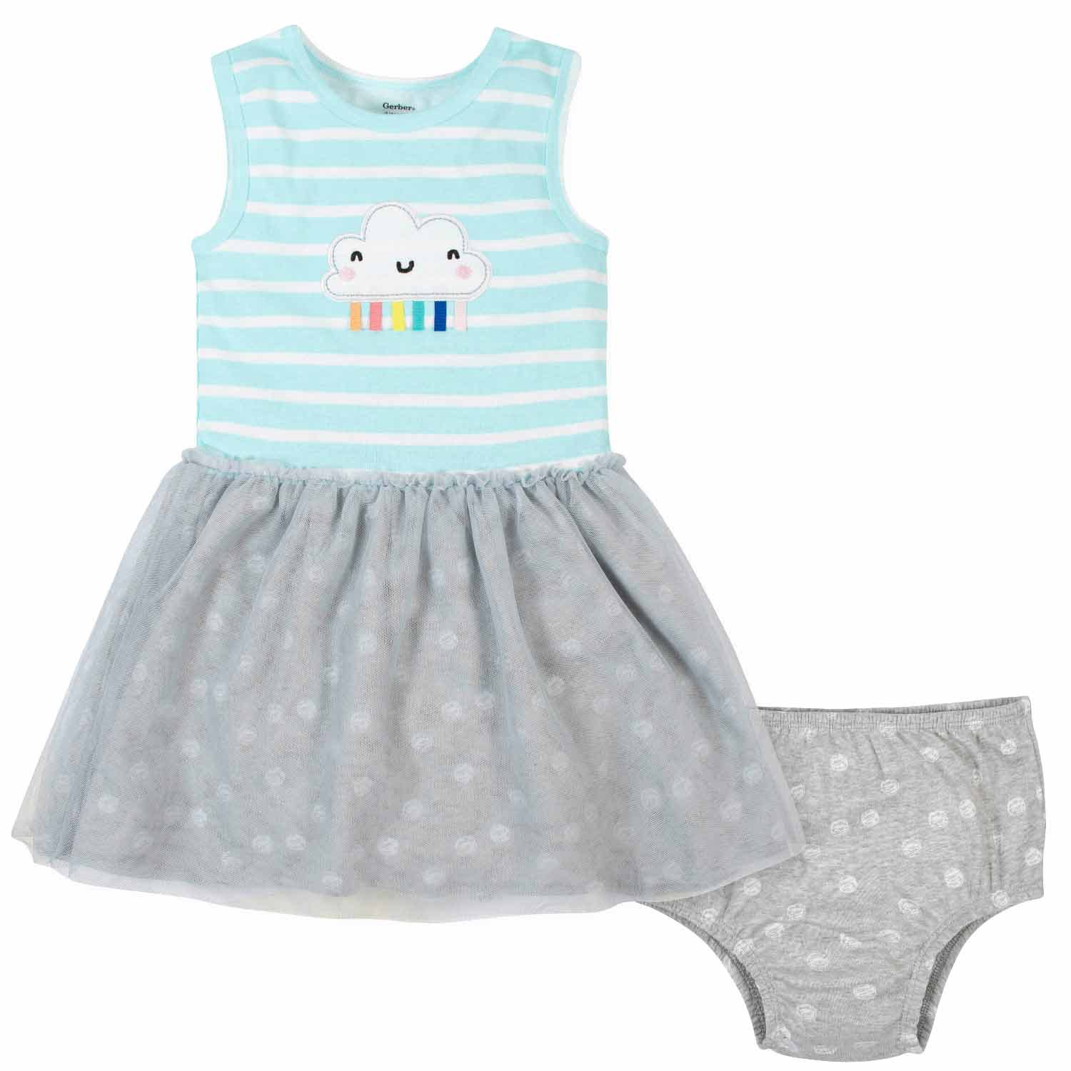 2-Piece Toddler Girls Clouds Tulle Dress and Diaper Cover