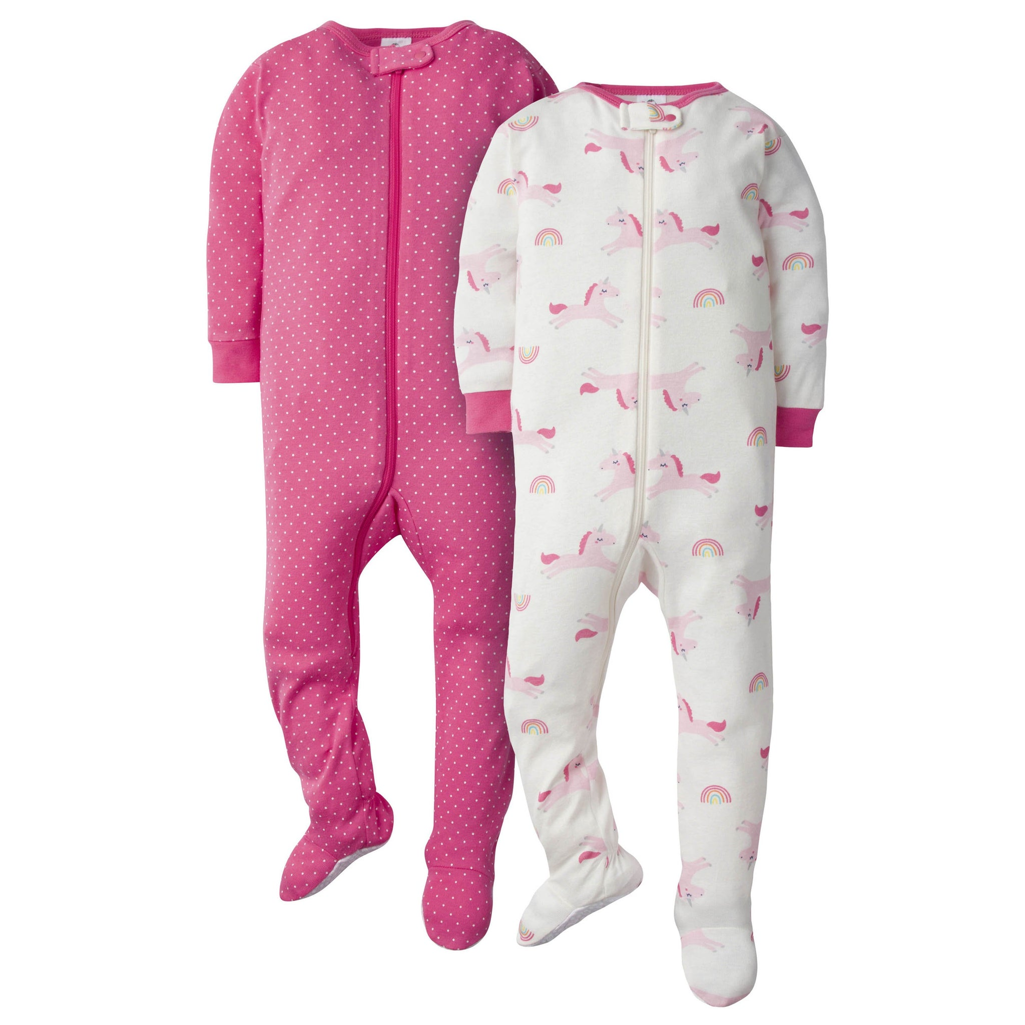 2-Pack Baby Girls Unicorn Footed Union Suits