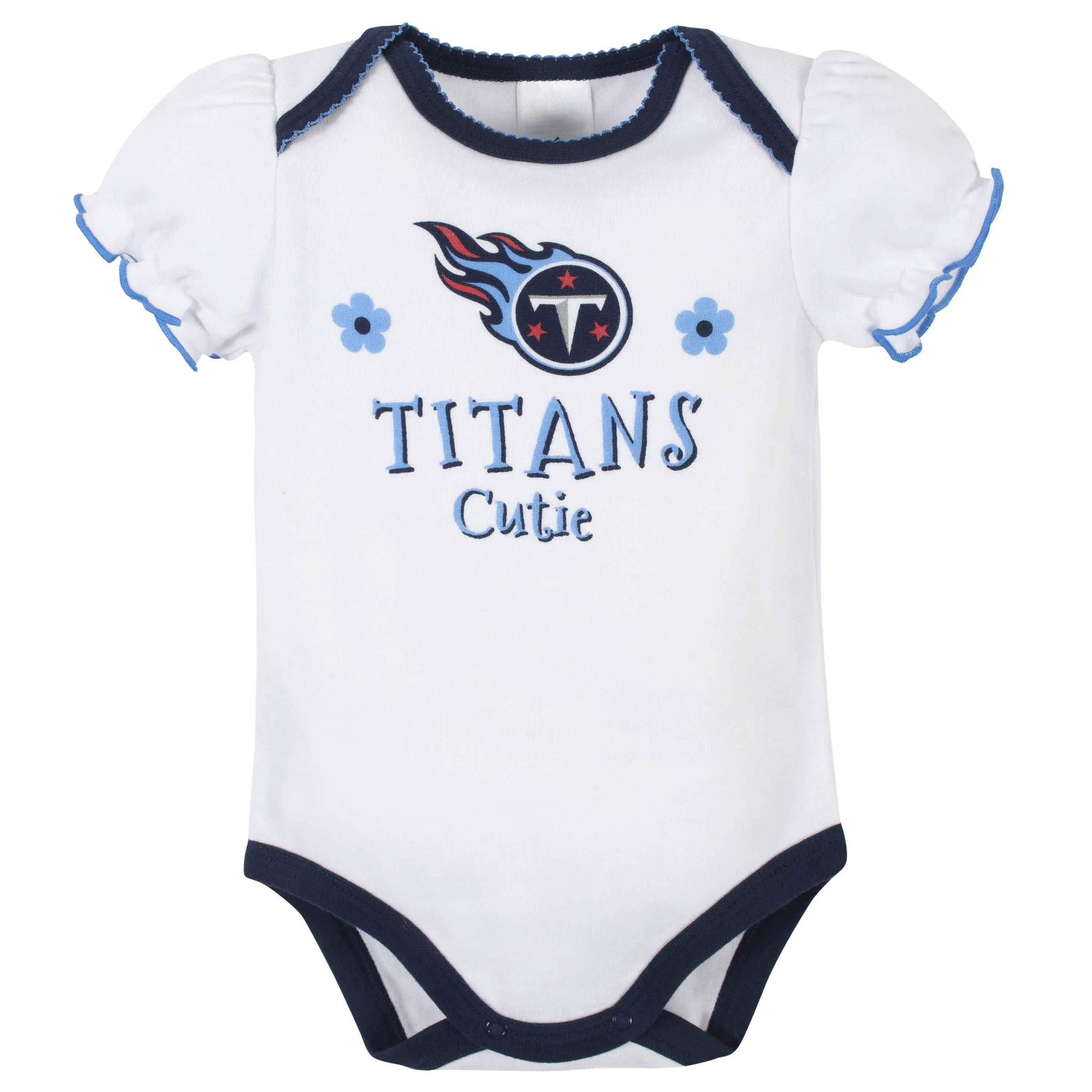 Tennessee Titans Baby Girls Short Sleeve Bodysuits-Gerber Childrenswear