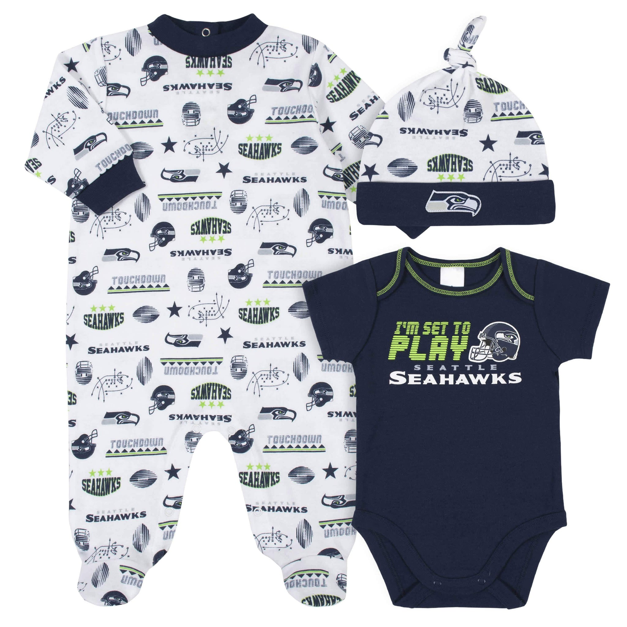 Seattle Seahawks 3-Piece Baby Boys Bodysuit, Sleep 'N Play, and Cap Set-Gerber Childrenswear