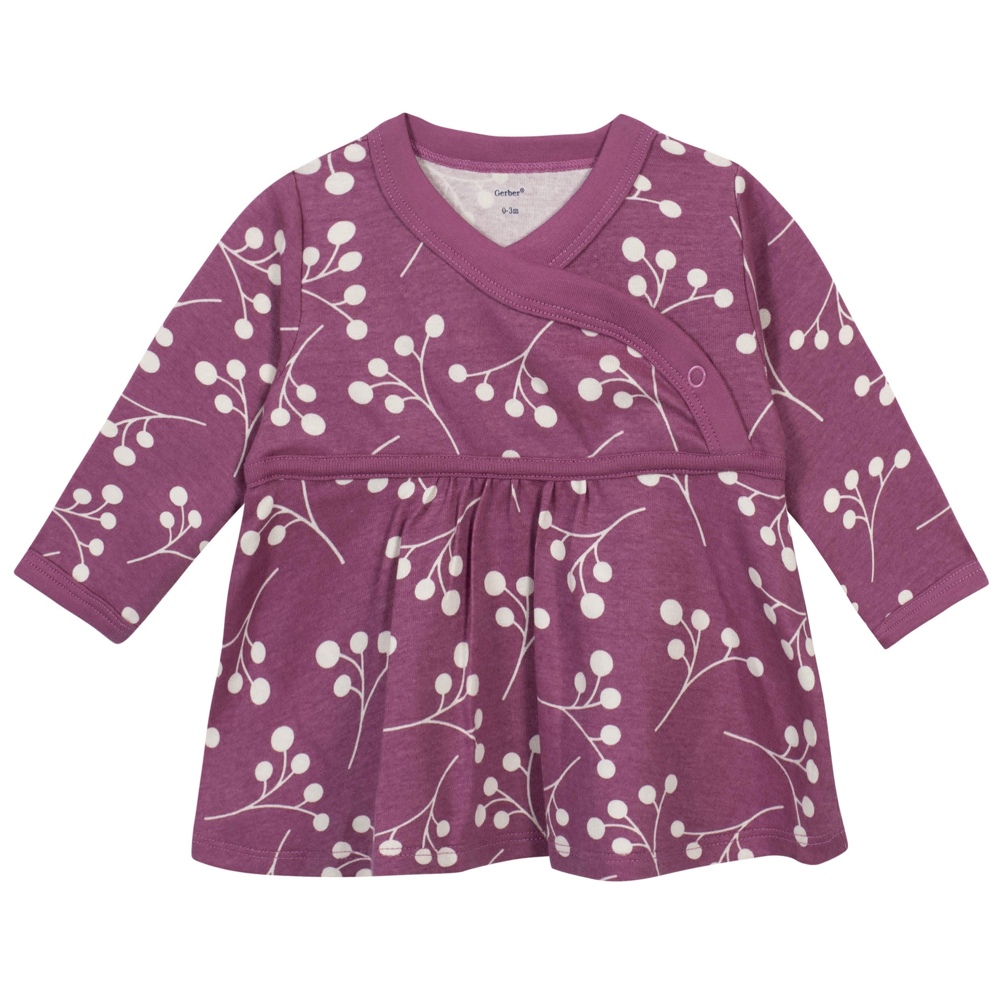 3-Piece Baby Girls Grow by Gerber® Floral Organic Shirt, Footed Pant and Cap Set-Gerber Childrenswear