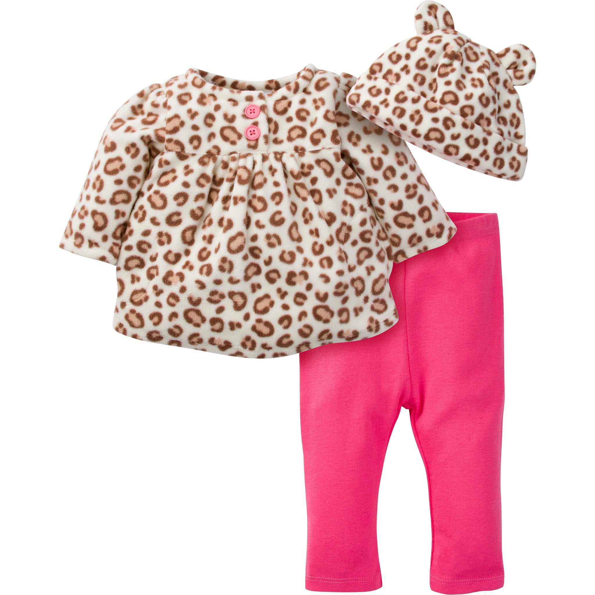 Gerber Baby 3 Piece Micro Fleece Top, Pant and Cap Set, leopard