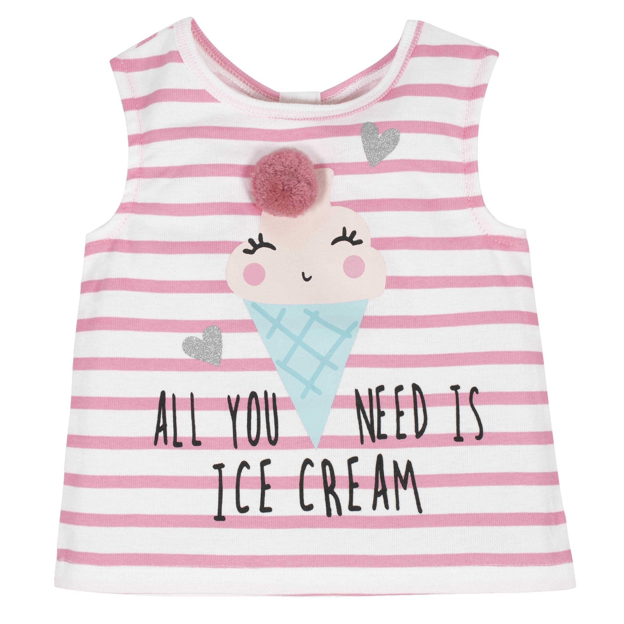 2-Piece Baby Girls Ice Cream Tank and Tutu Short Set