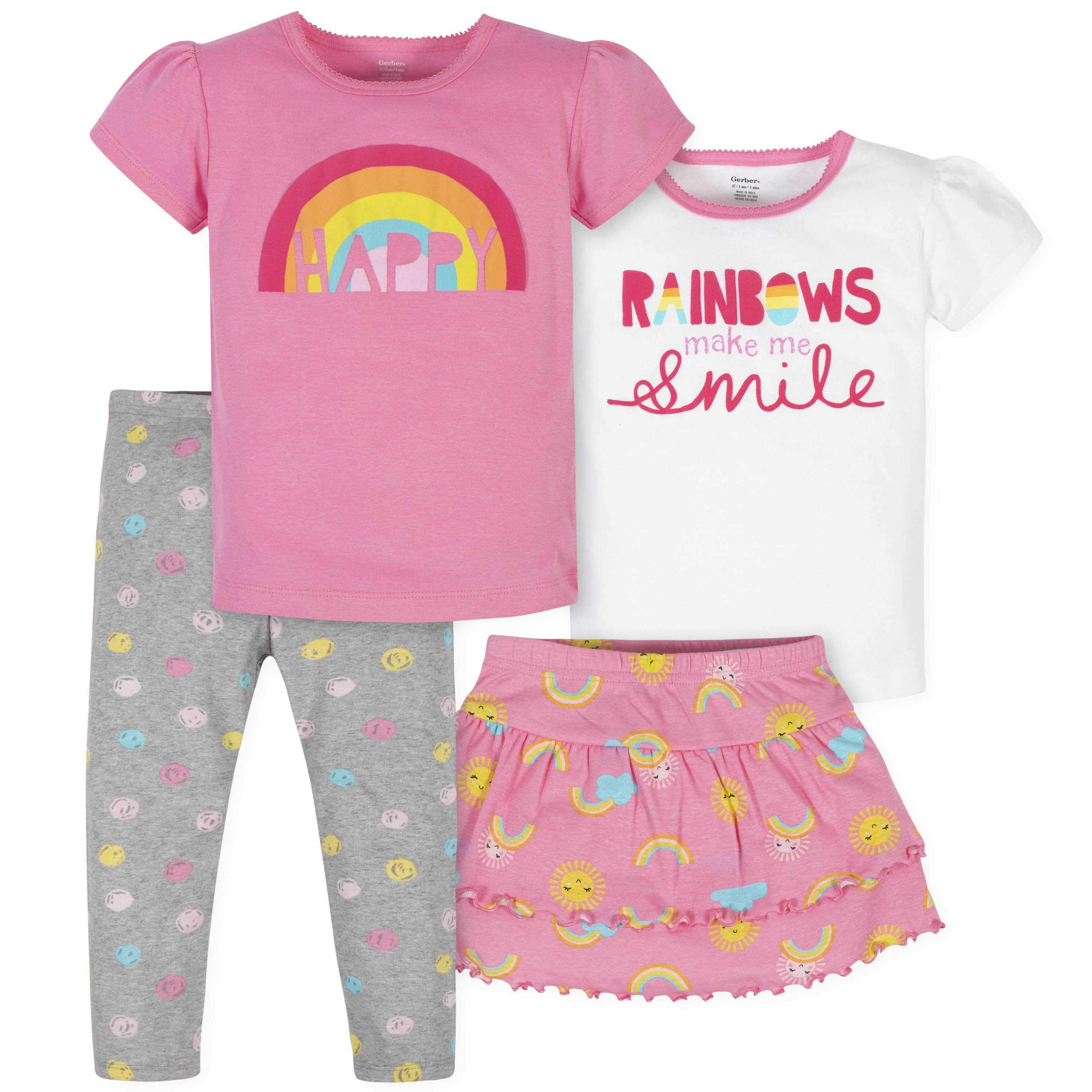 4-Piece Toddler Girls Rainbows Skirted Panty, Shirts, and Slim Pant Set
