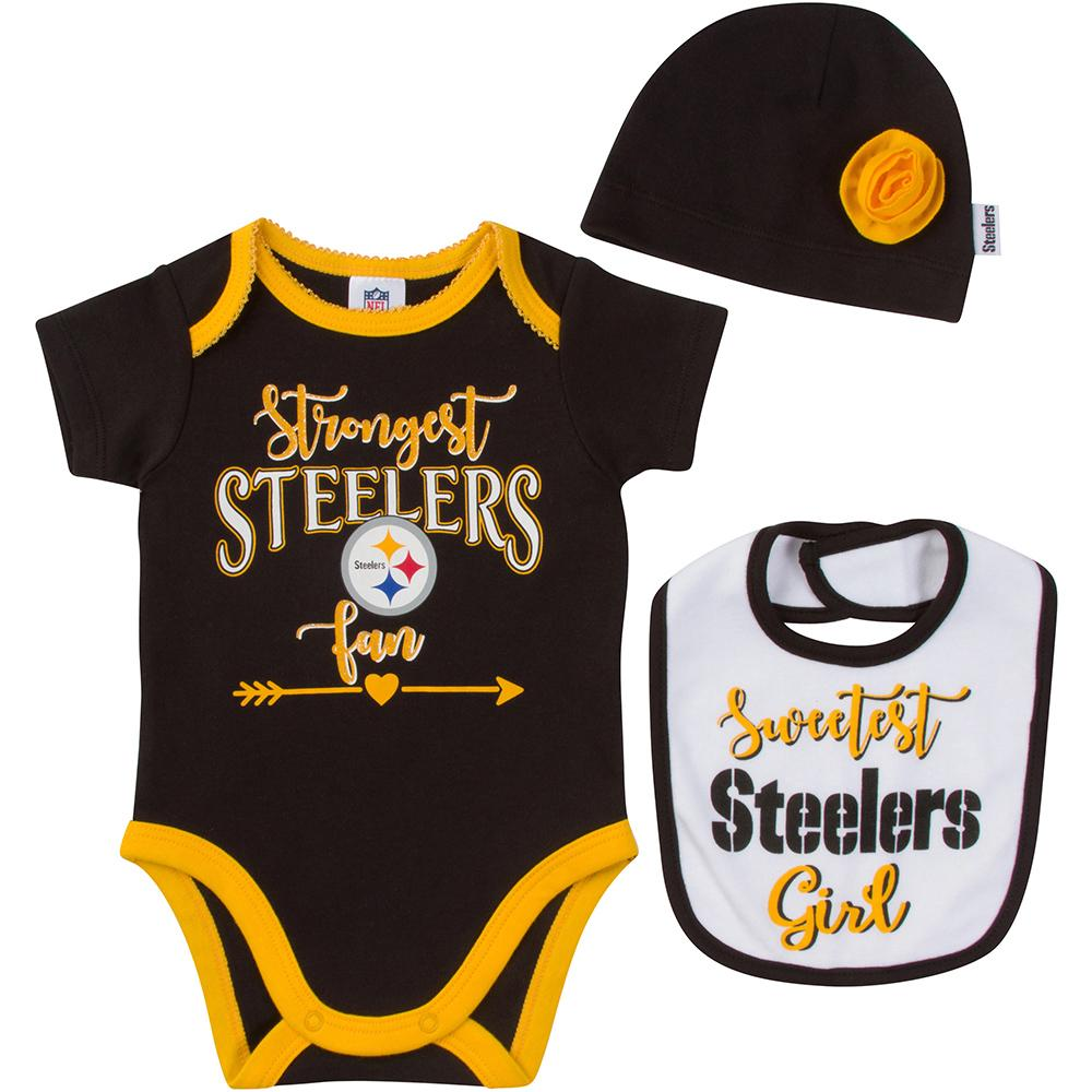 Pittsburgh Steelers Baby Girl 3 Piece Set-Gerber Childrenswear