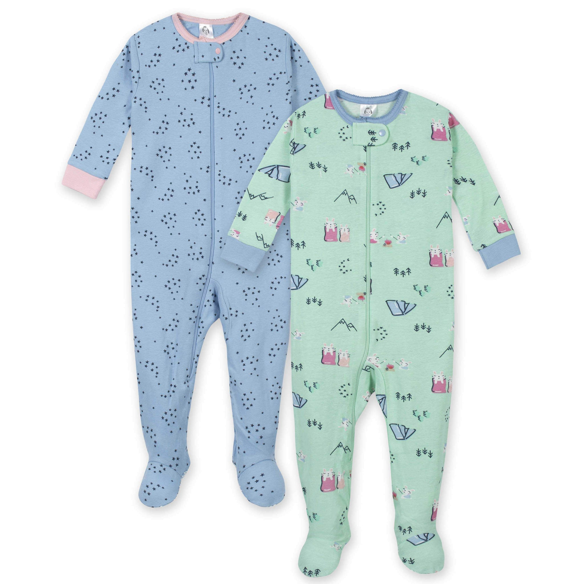2-Pack Girls Camping Footed Unionsuit