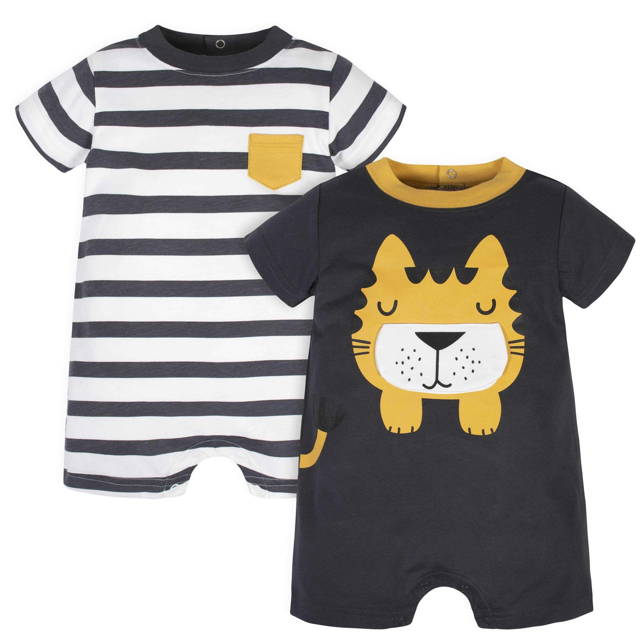Gerber® 2-Pack Baby Boys Tiger Rompers