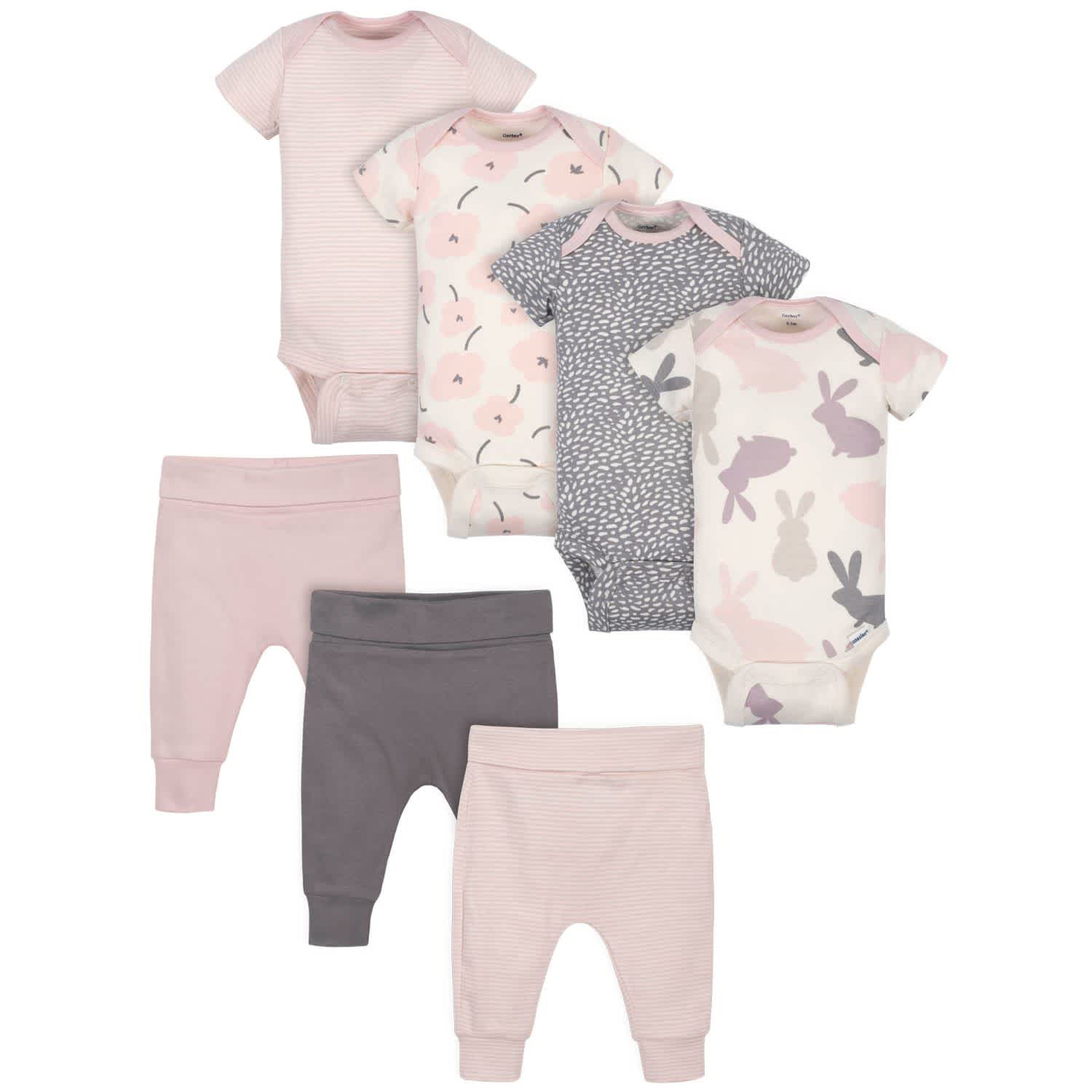 Gerber® 7-Piece Baby Girls Bunny Onesies® Bodysuits and Pants Set