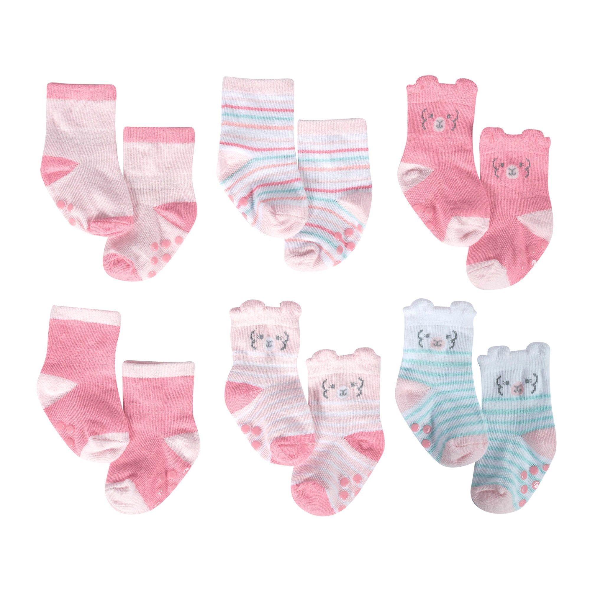 Just Born® Organic Baby Girls 6-Pack Lil' Llama Wiggle Proof Socks