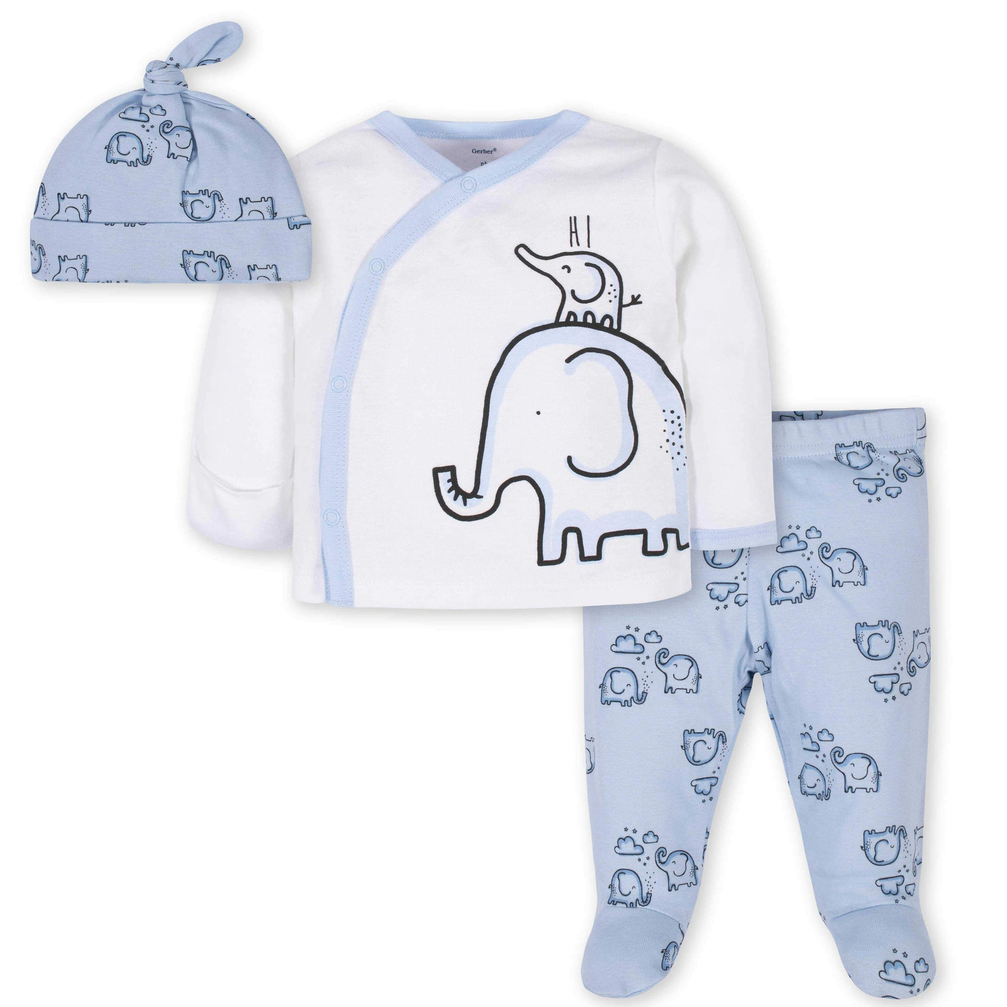 3-Piece Baby Boys Elephant Take-Me-Home Set