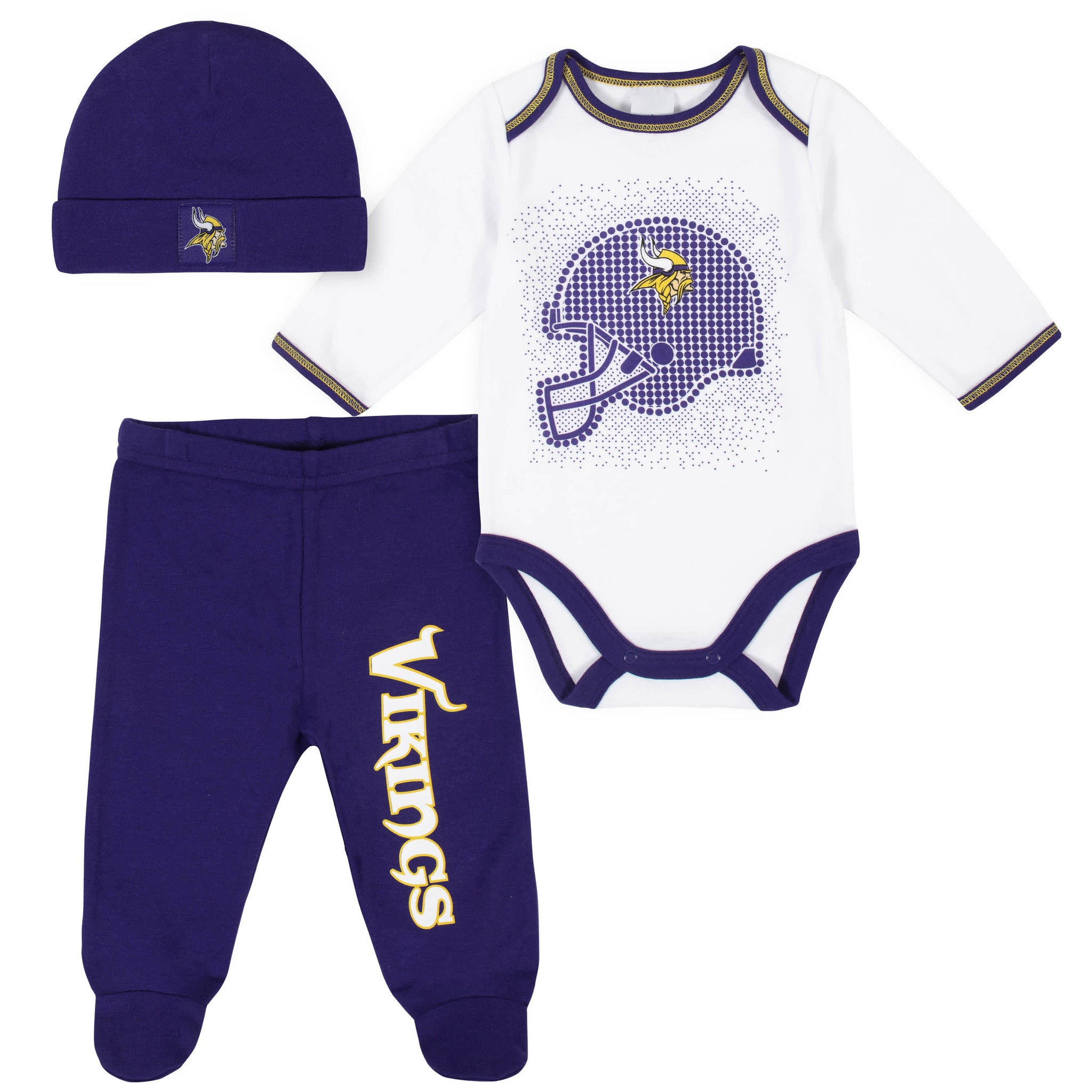Minnesota Vikings 3-Piece Baby Boys Bodysuit, Pant, and Cap Set