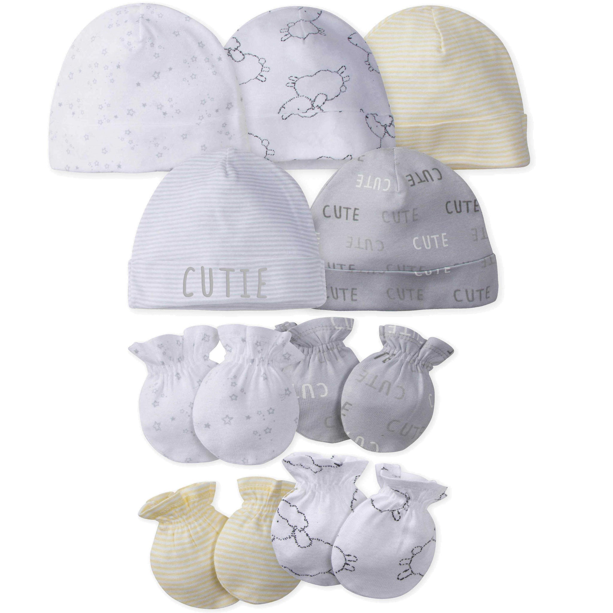Gerber® 9-piece Baby Neutral Lamb Caps and Mittens Set