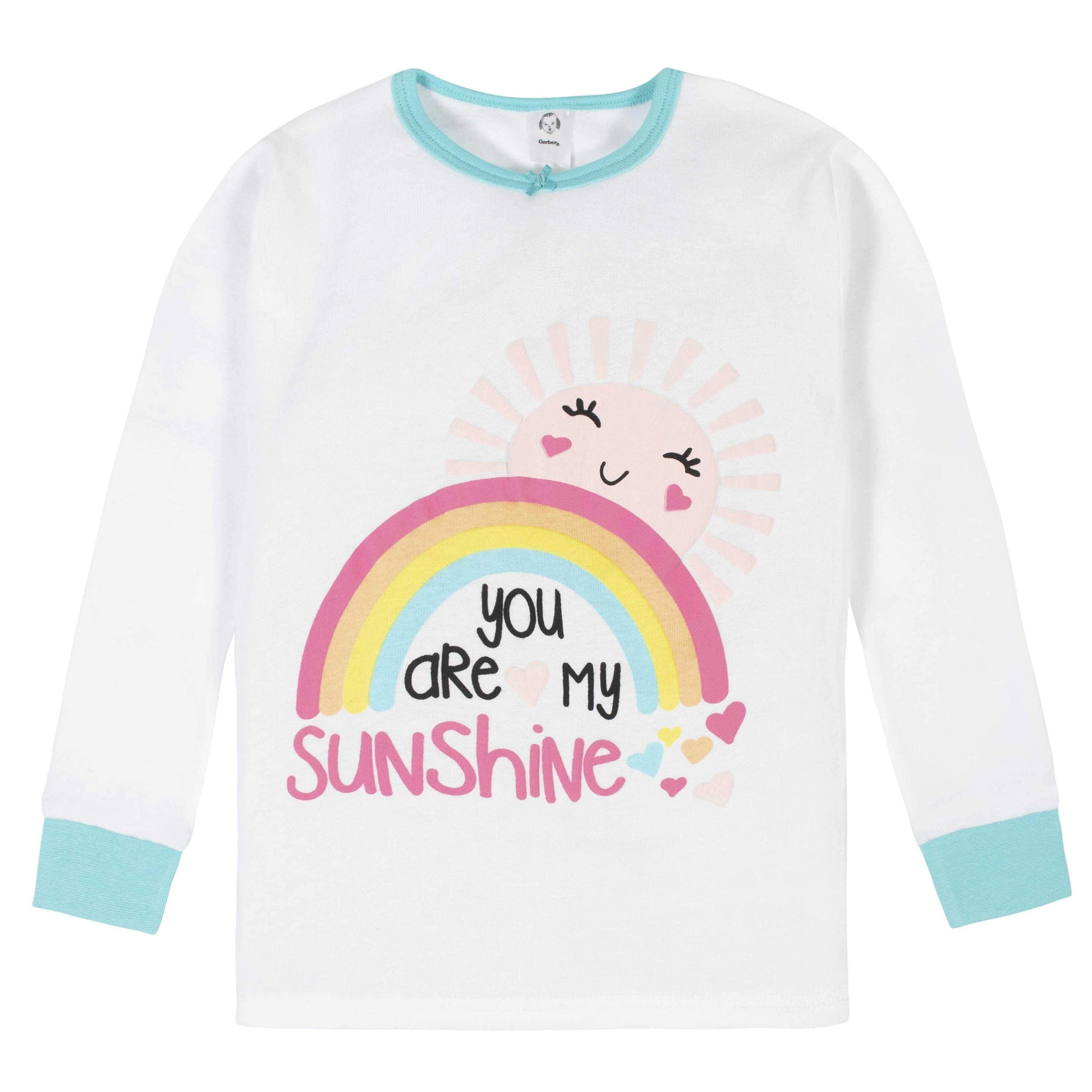 4-Piece Girls Rainbow Pajama Set