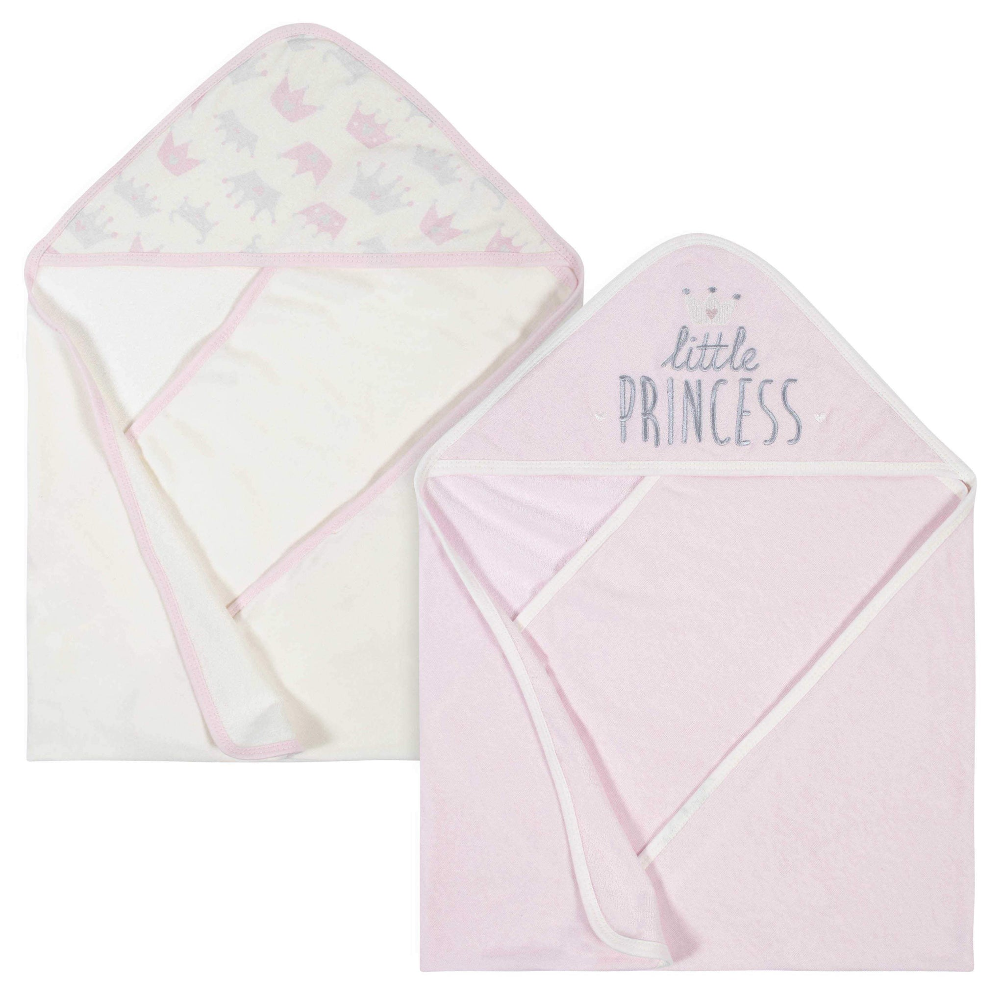 2-Pack Baby Girls' Princess Terry Hooded Towels