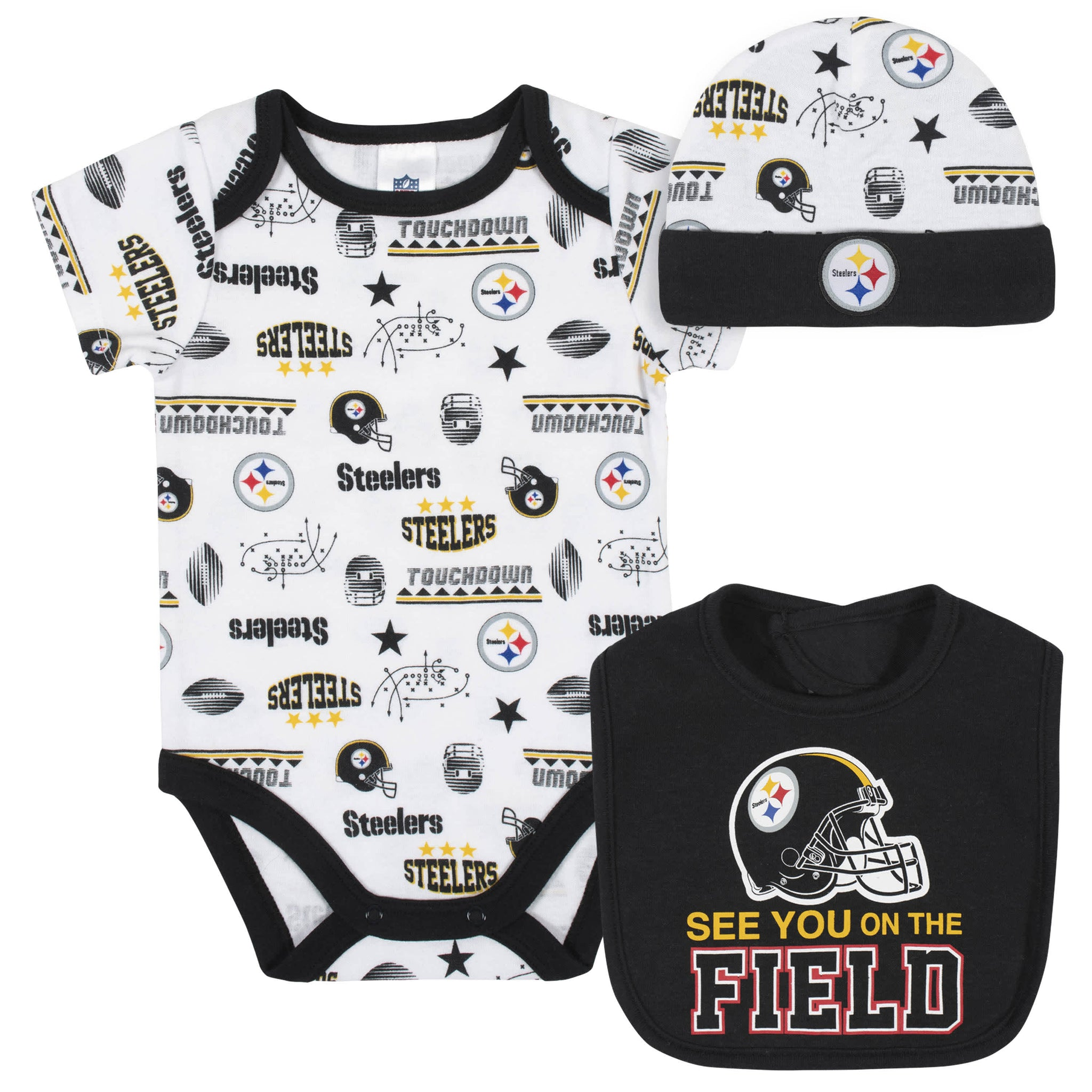 Pittsburgh Steelers 3-Piece Baby Boys Bodysuit, Bib, and Cap Set