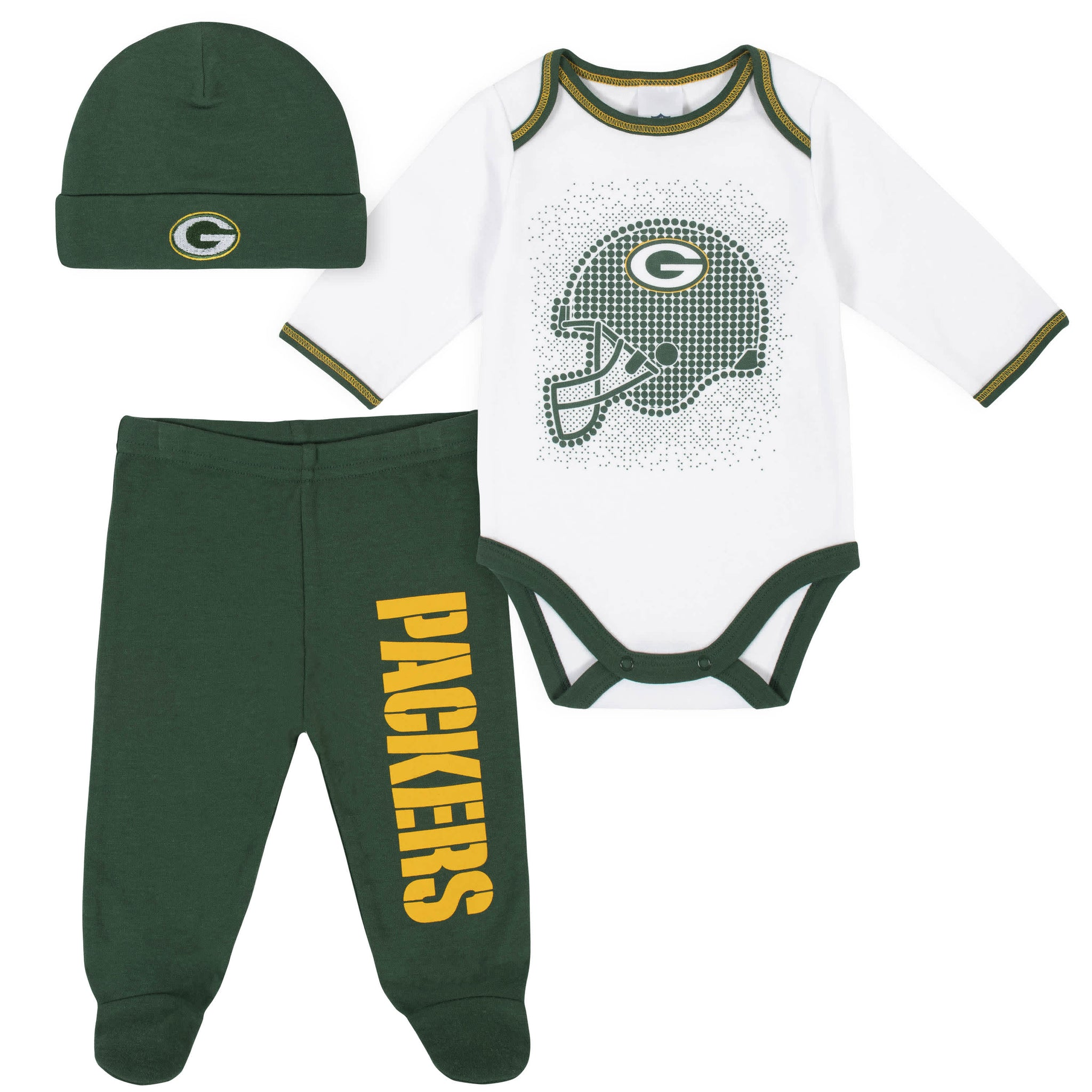 Green Bay Packers 3-Piece Baby Boys Bodysuit, Pant, and Cap Set-Gerber Childrenswear