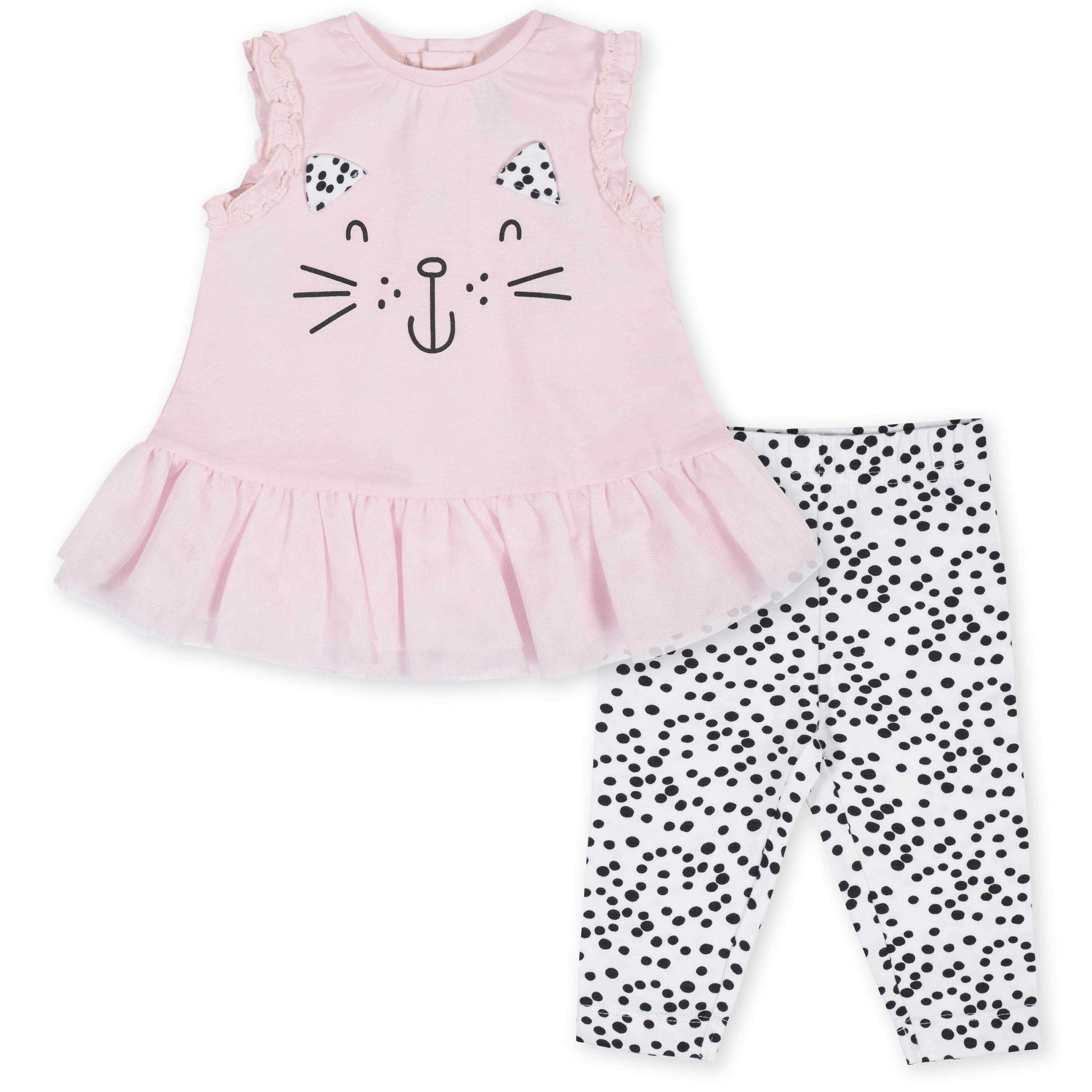 2-Piece Baby Girls Kitty Ruffled Tunic and Legging Set