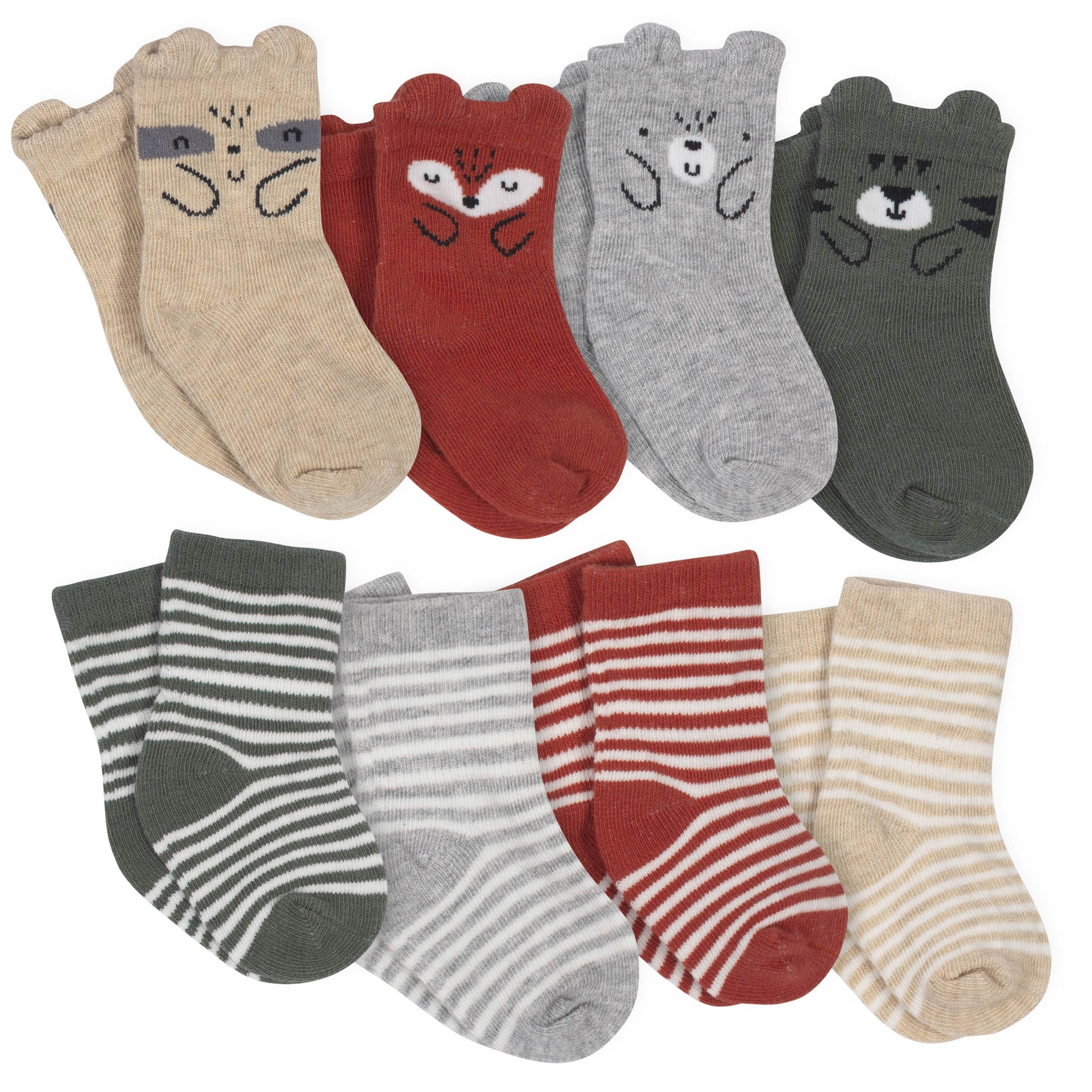 Boys' 8-Pack Wiggle Proof Jersey Crew Socks - Animals